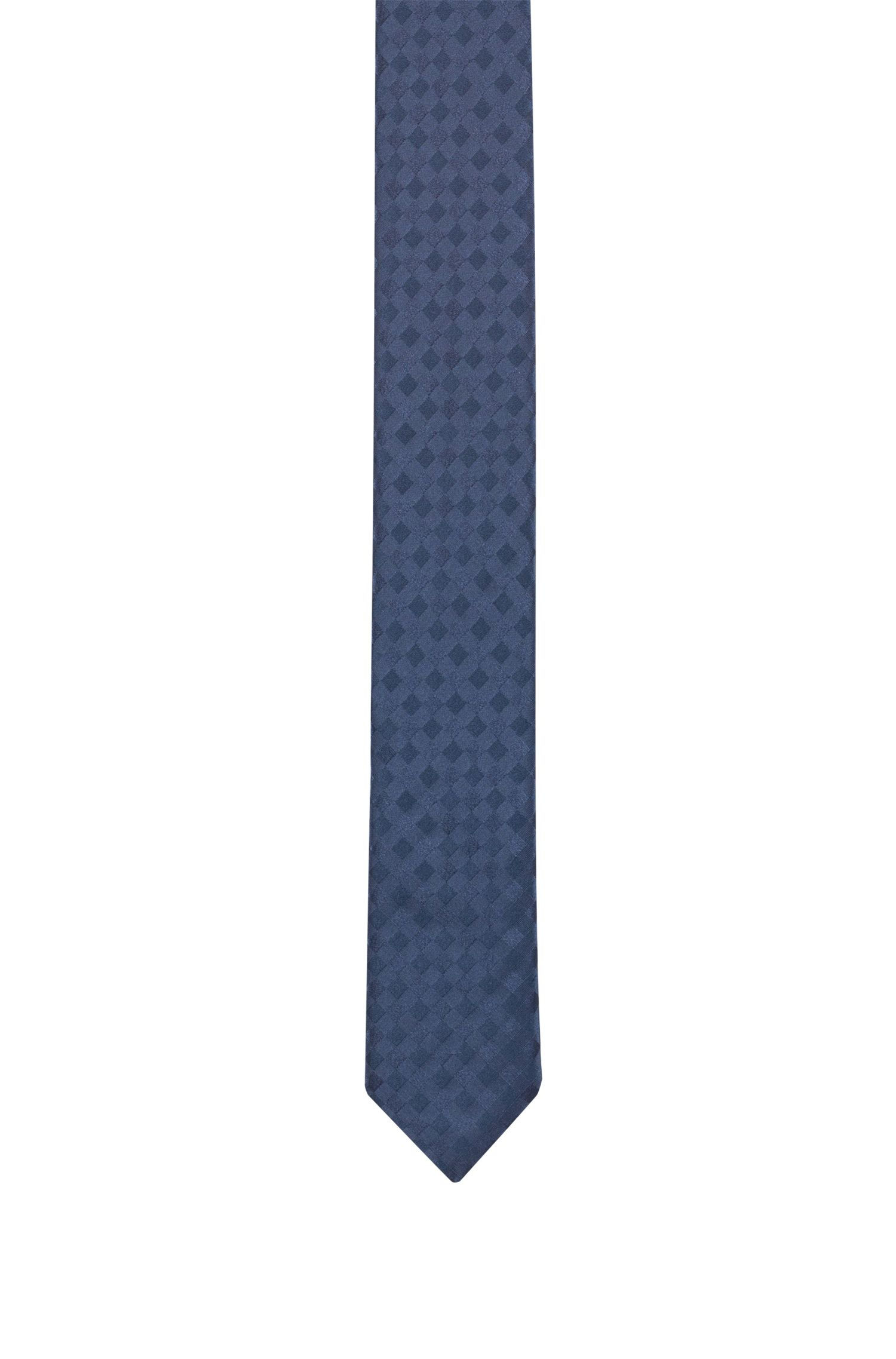 Silk-jacquard tie with tonal plain check