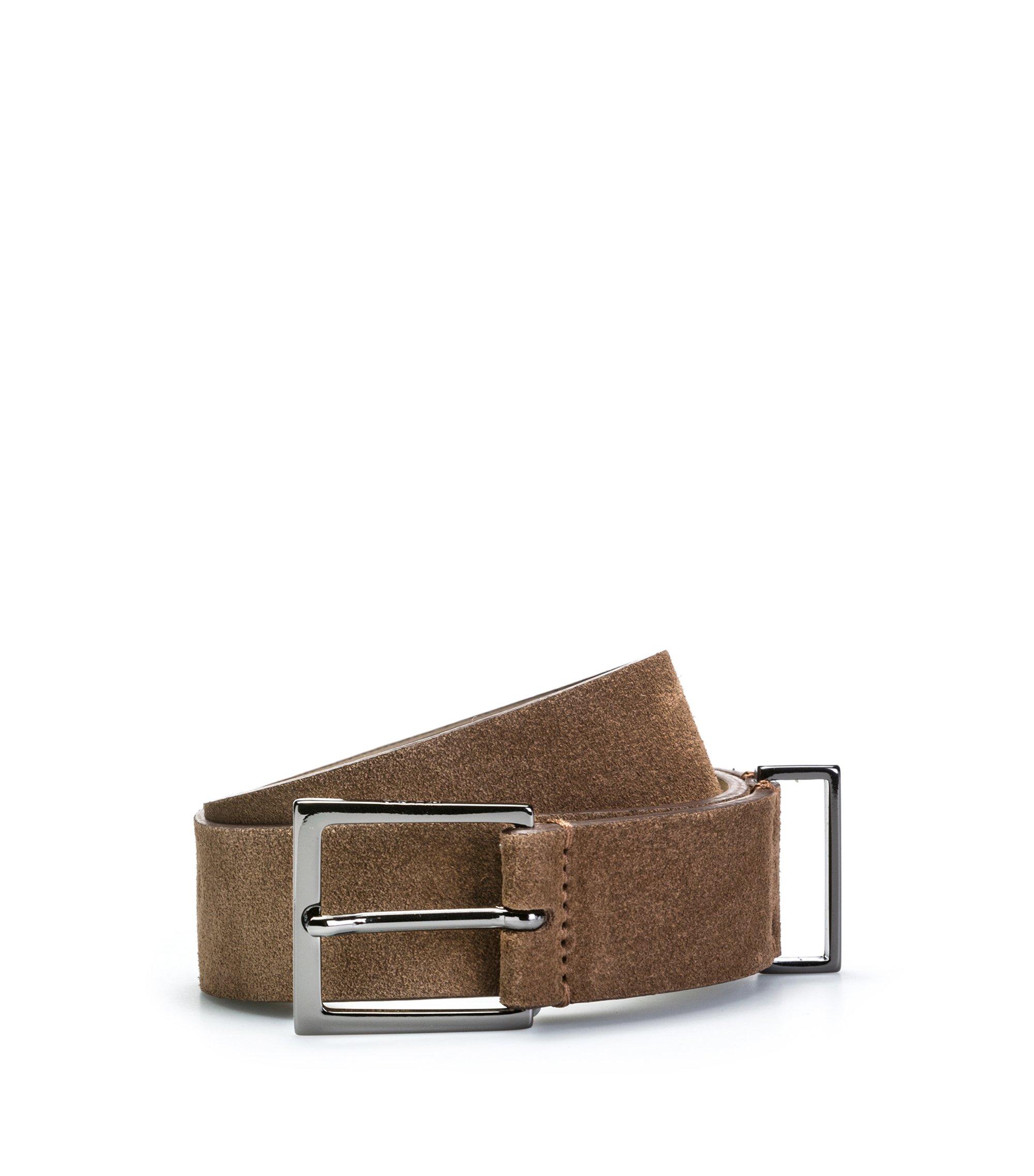 Veloursleder-Gürtel mit polierten Metall-Details, Braun
