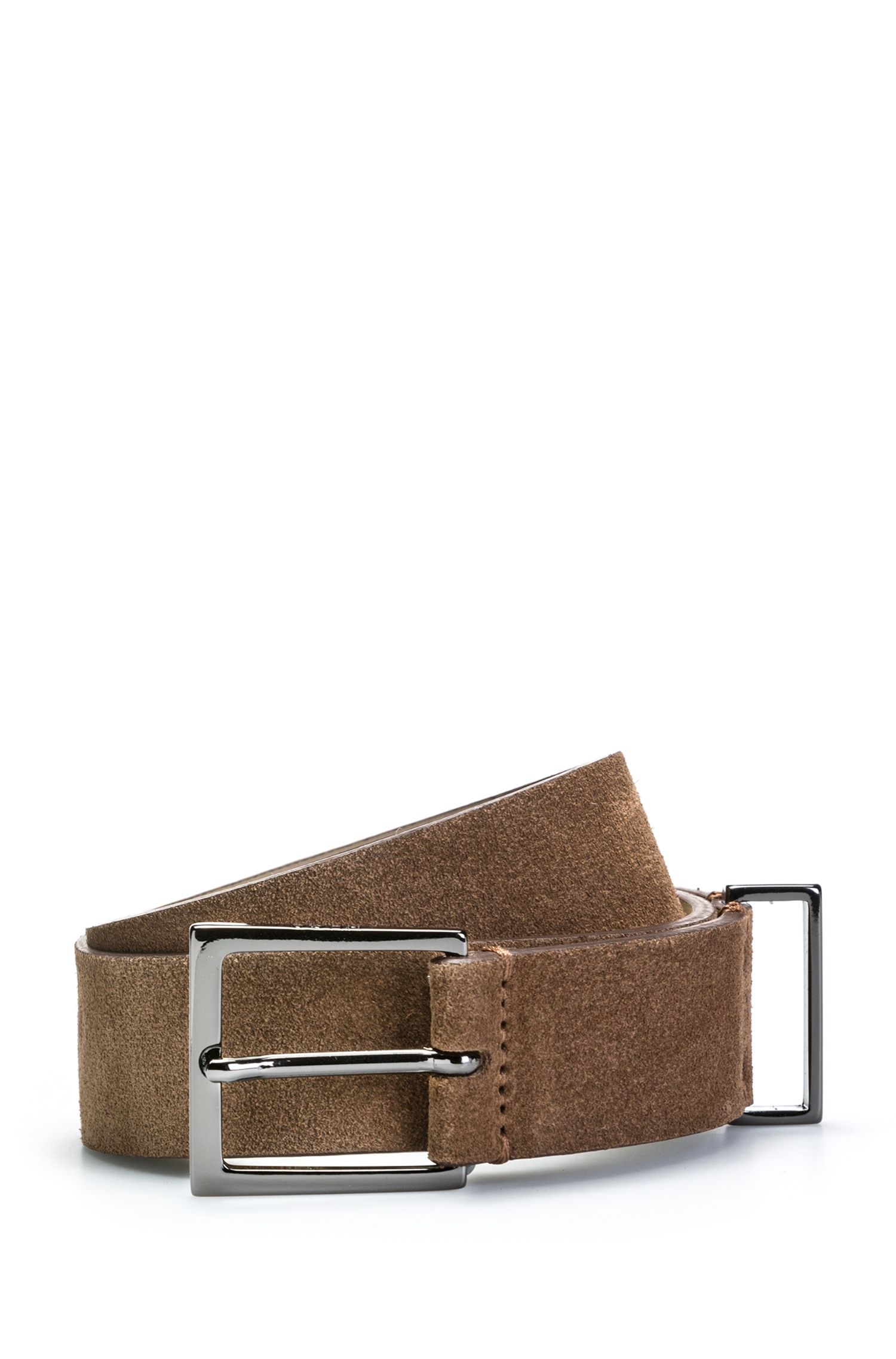 Suede leather belt with polished gunmetal hardware, Brown