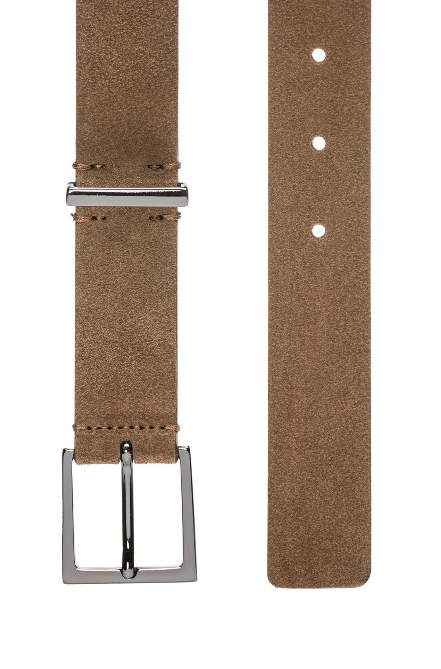 Cintura in pelle scamosciata con finiture lucide in metallo color canna di fucile, Marrone