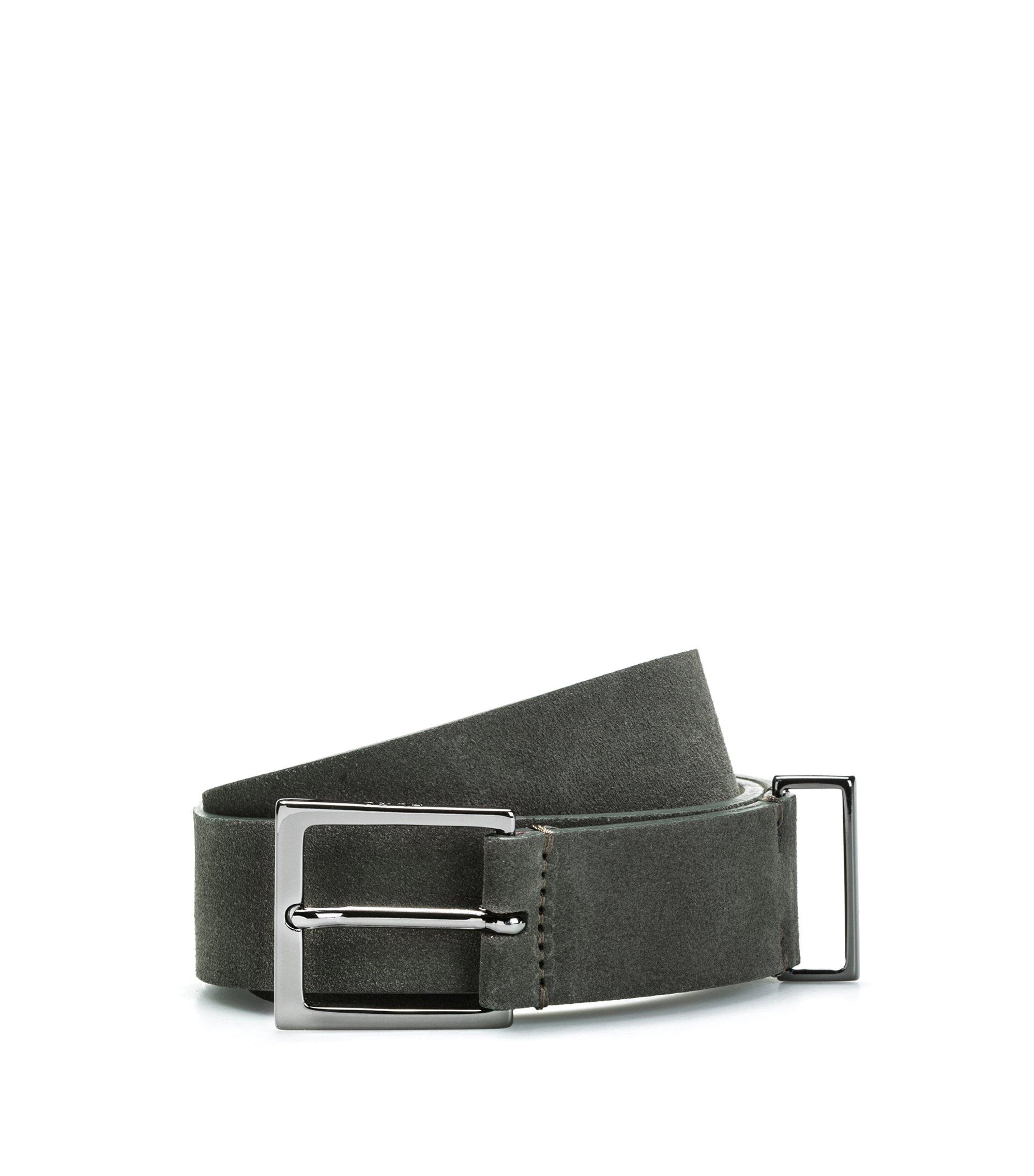 Cintura in pelle scamosciata con finiture lucide in metallo color canna di fucile, Verde scuro
