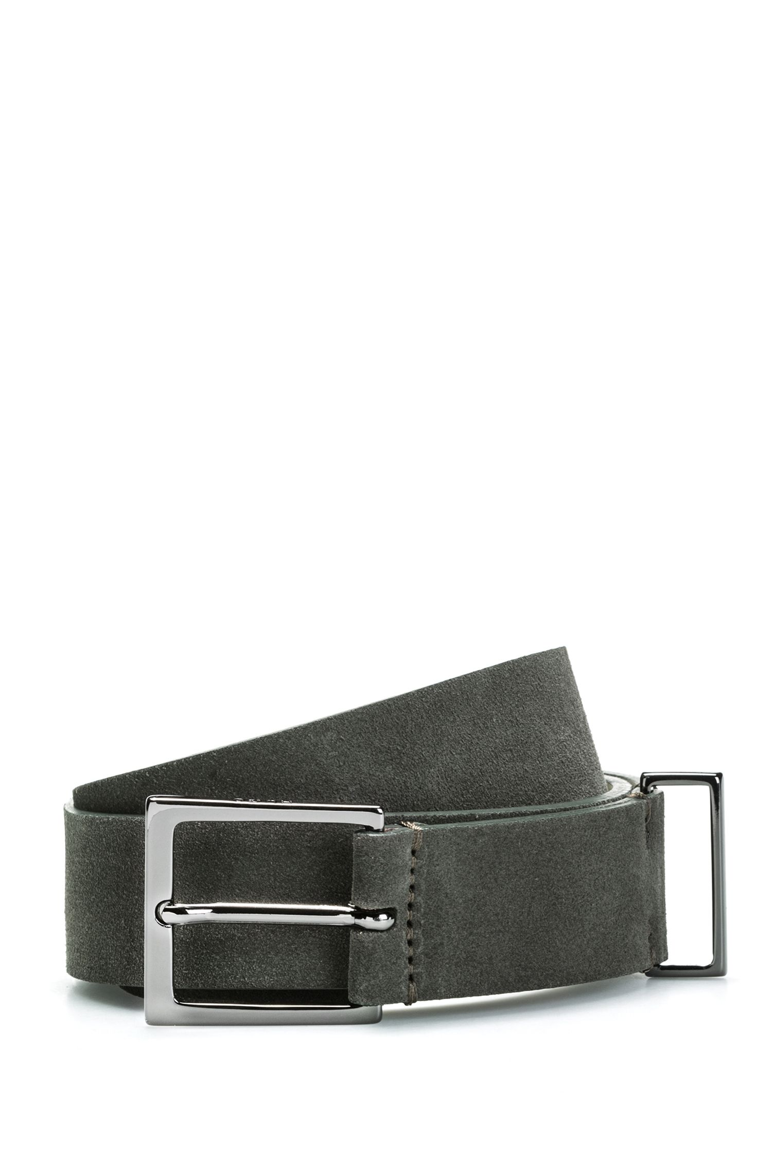Suede leather belt with polished gunmetal hardware