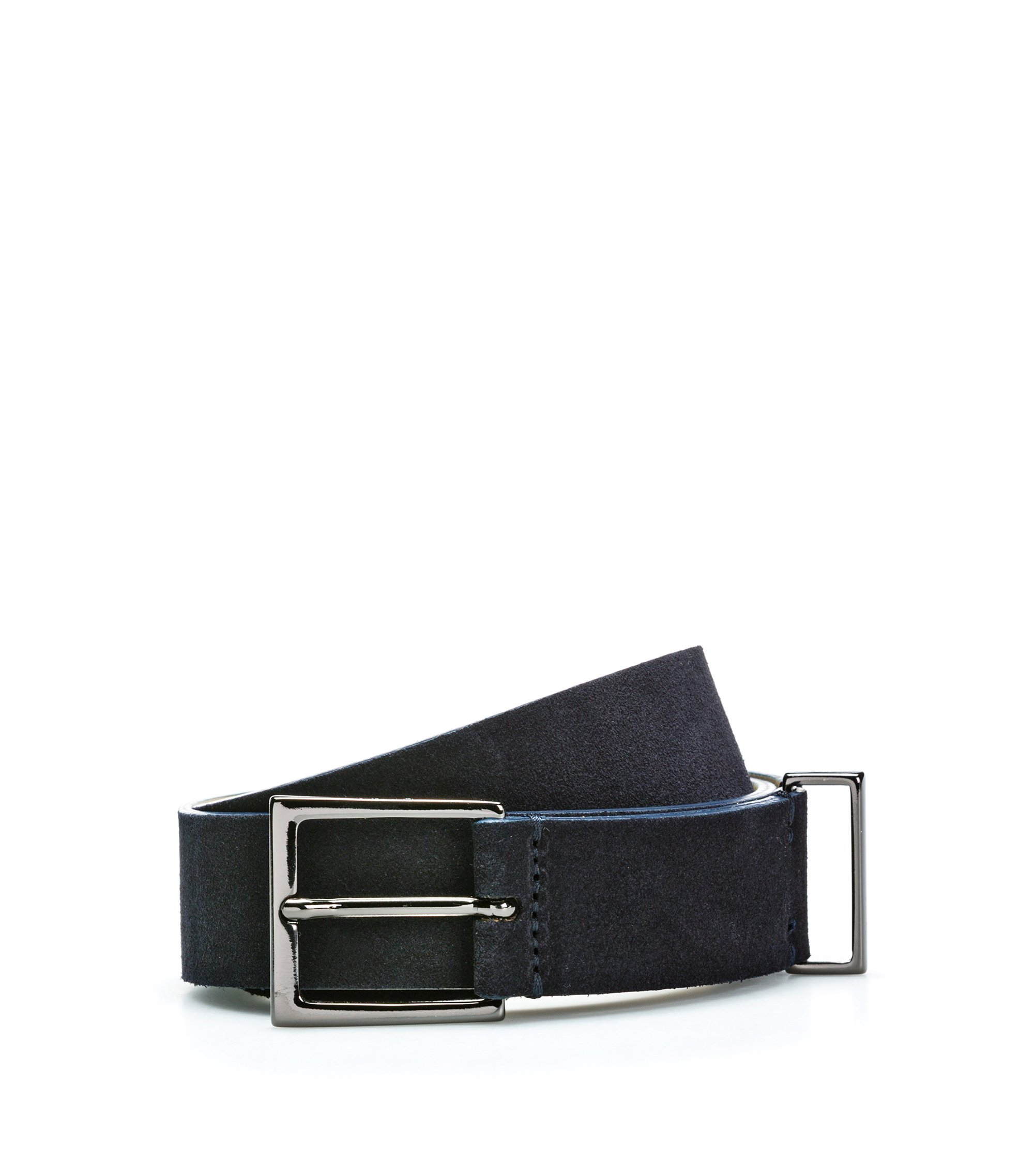 Suede leather belt with polished gunmetal hardware, Dark Blue