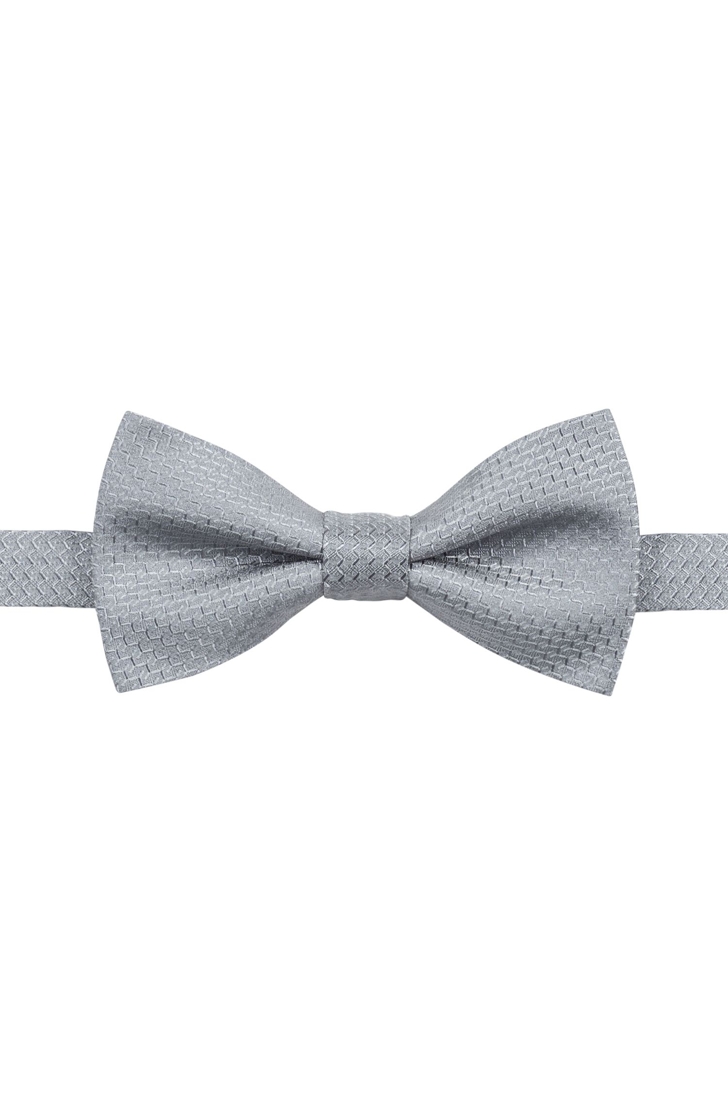 Micro-patterned bow tie in silk jacquard, Dark Grey