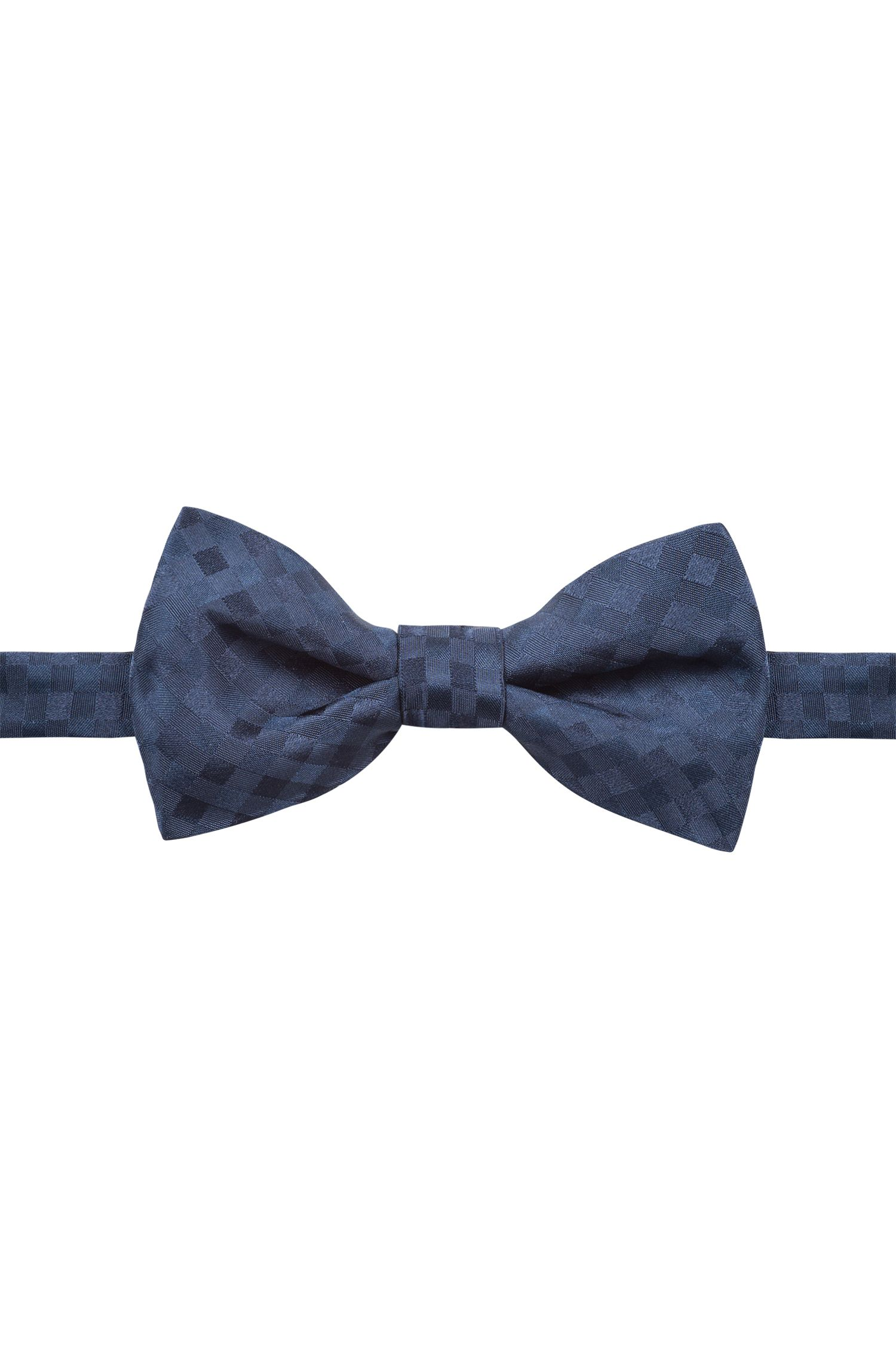 Silk-jacquard bow tie with plain check, Dark Blue