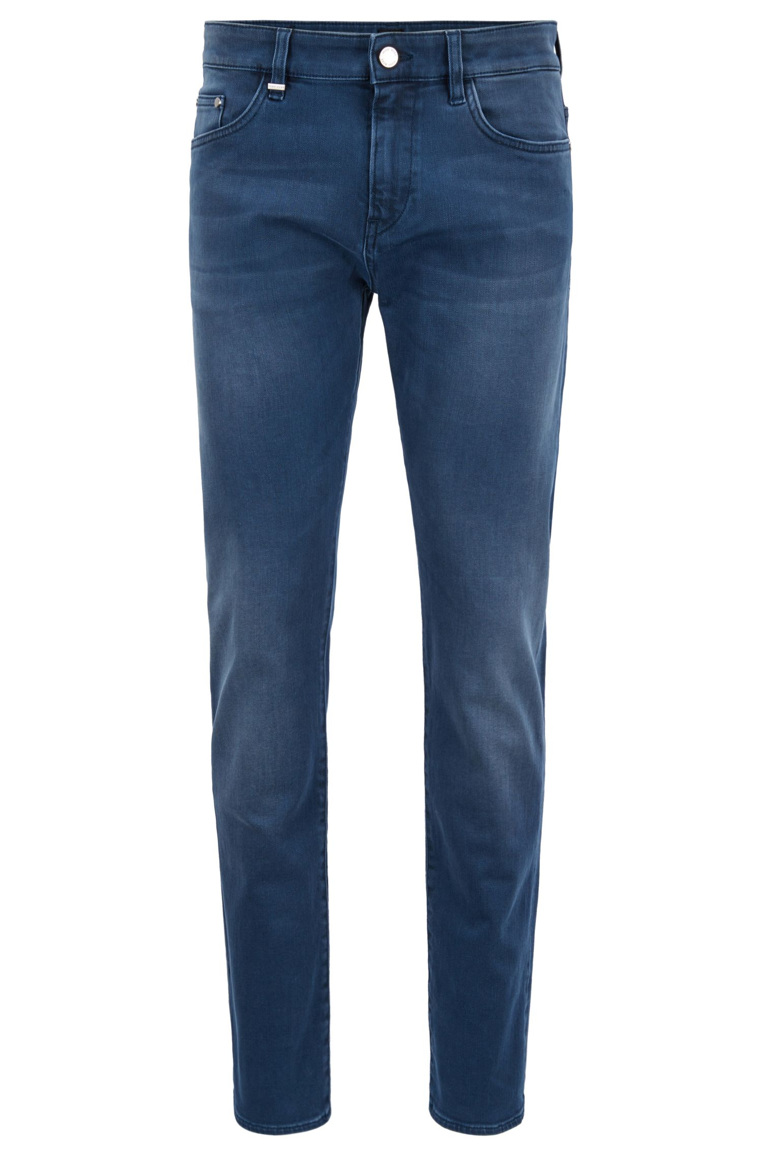 Jean Slim Fit en denim stretch teint au soufre, Bleu