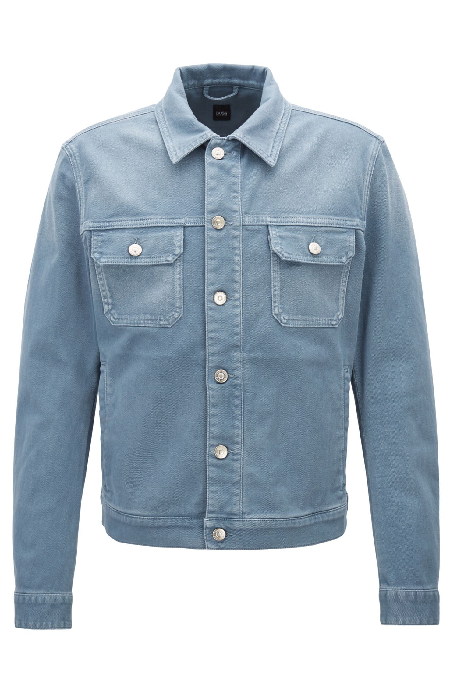 Fitted jacket in coloured stretch denim, Open Blue