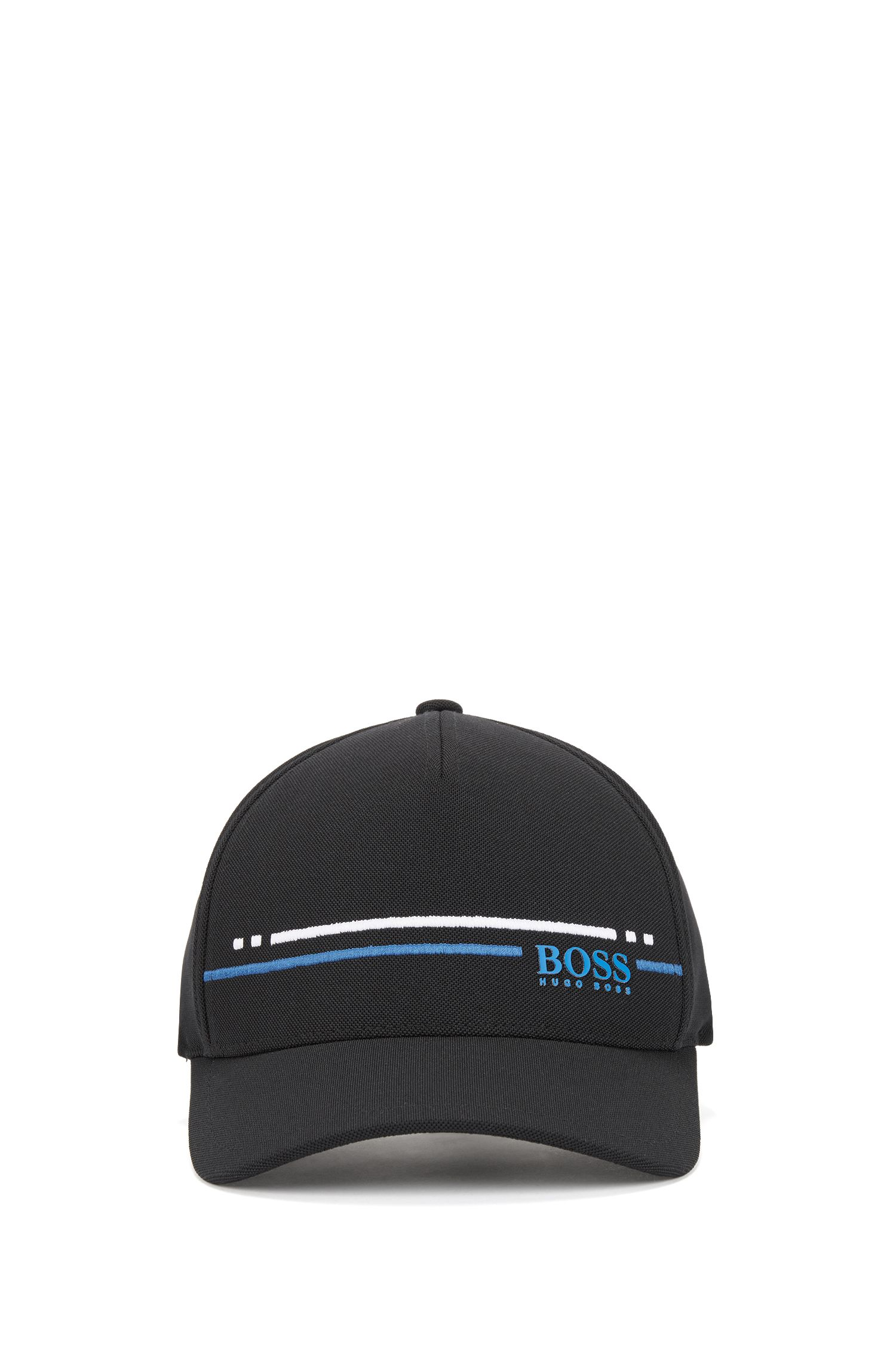 Piqué-mesh baseball cap with embroidered stripe , Black