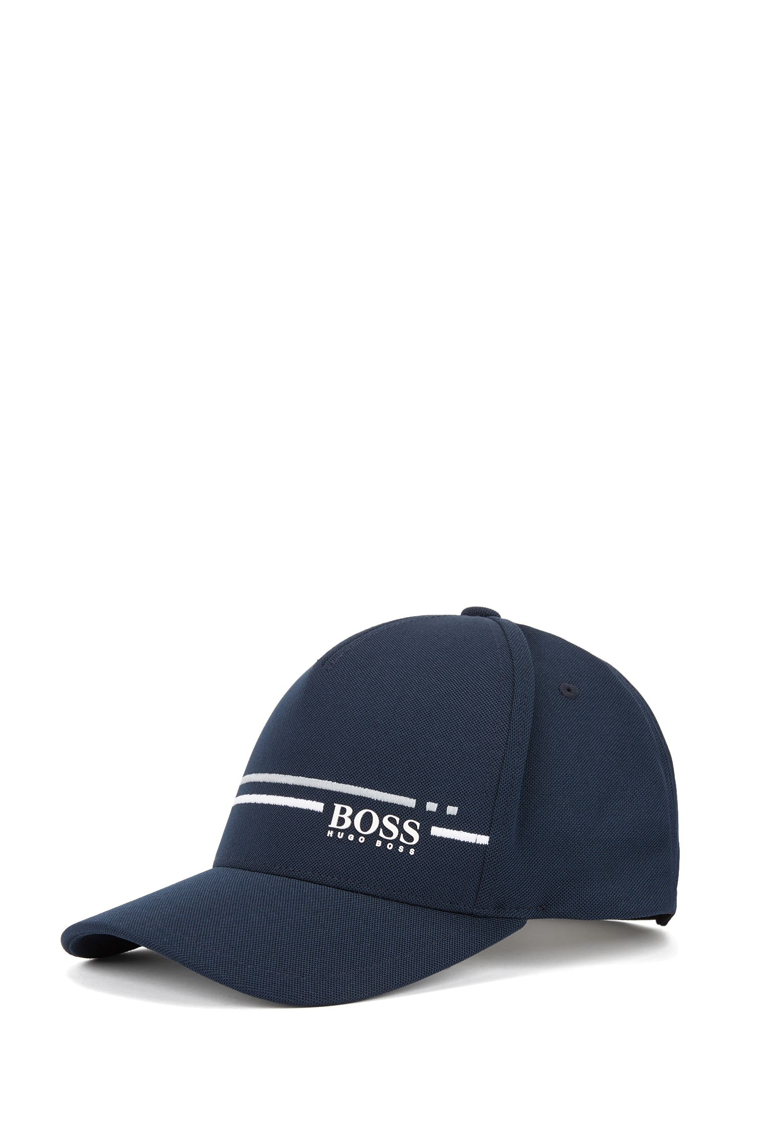Piqué-mesh baseball cap with embroidered stripe , Dark Blue