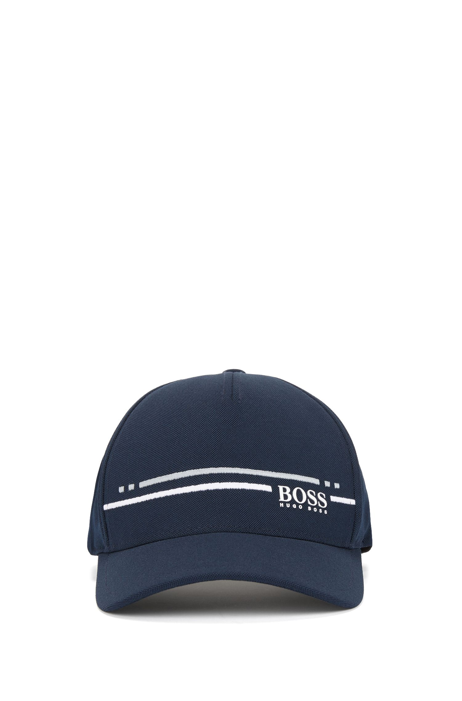 Piqué-mesh baseball cap with embroidered stripe