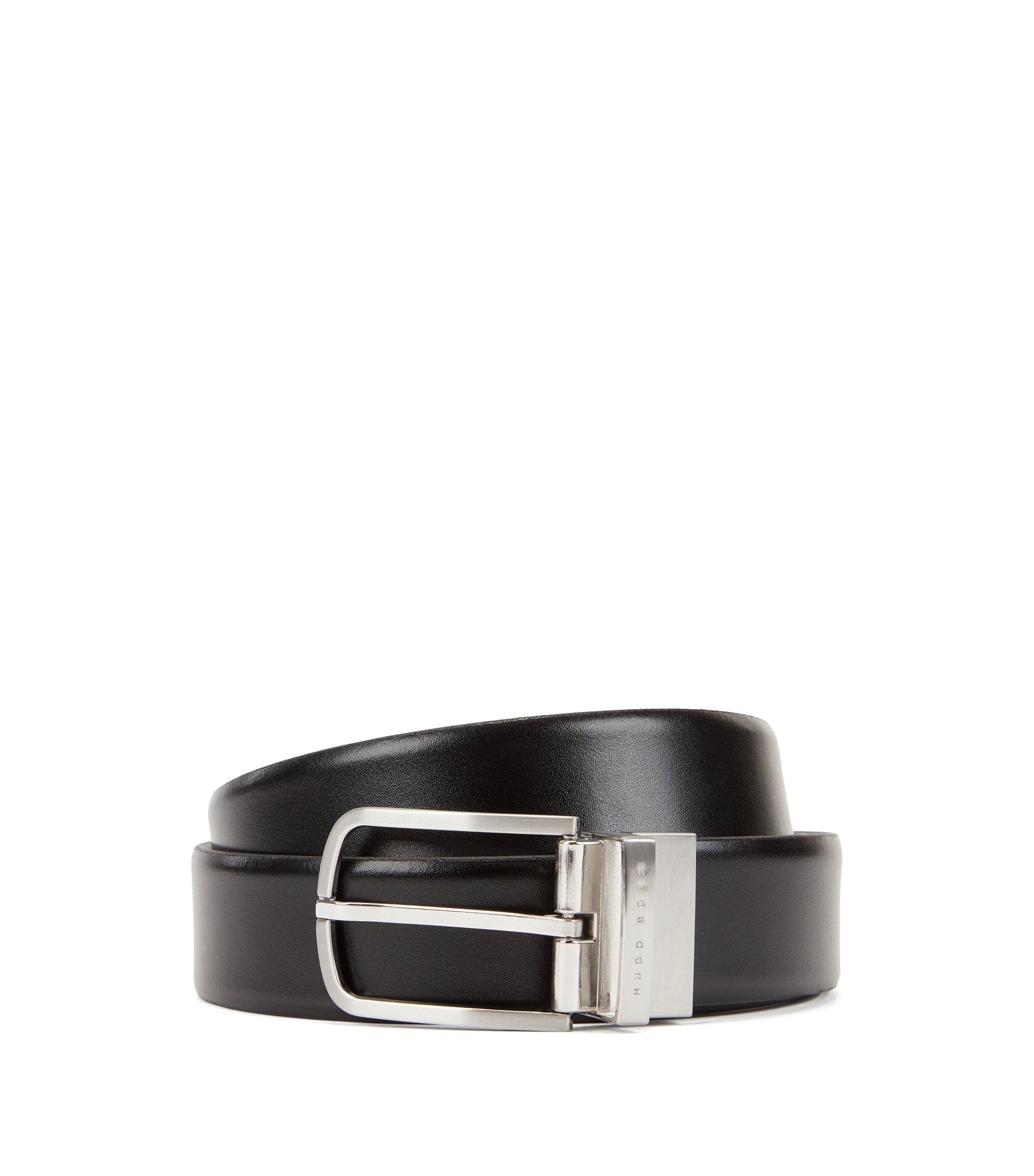 Wendegürtel aus Glattleder mit runder Schließe, Schwarz