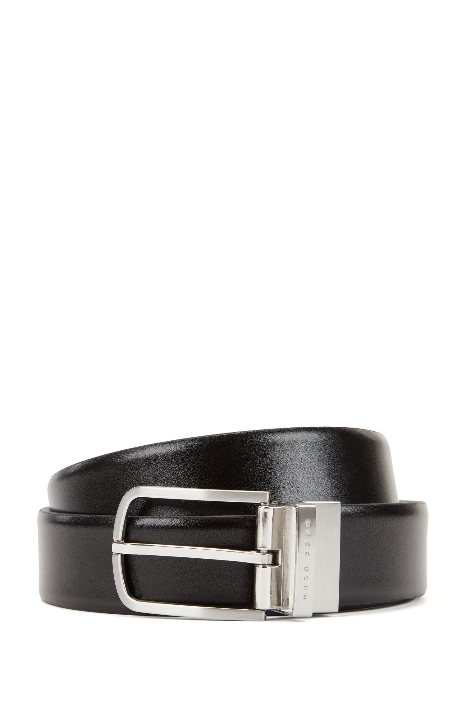 Reversible belt in smooth leather with rounded buckle, Black