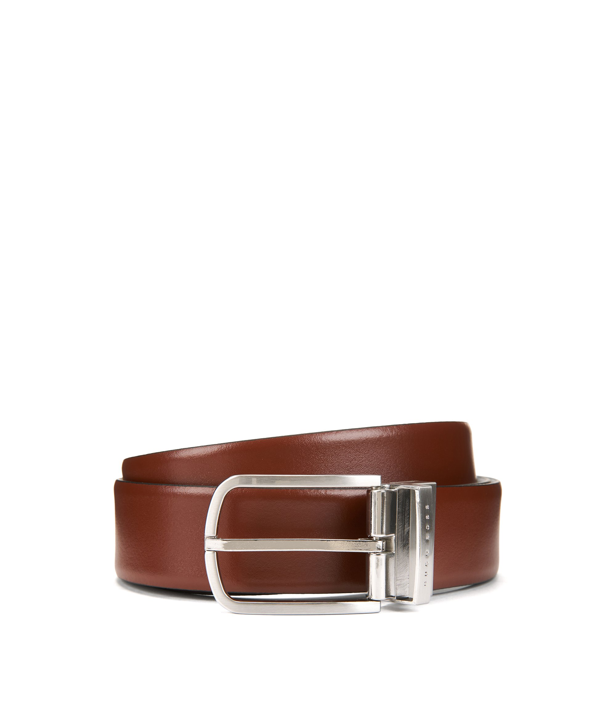 Reversible belt in smooth leather with rounded buckle, Brown