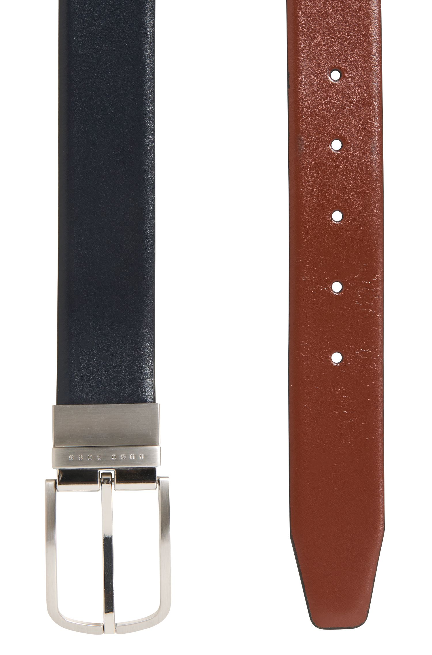 Cinturón reversible de piel lisa con hebilla redonda, Marrón