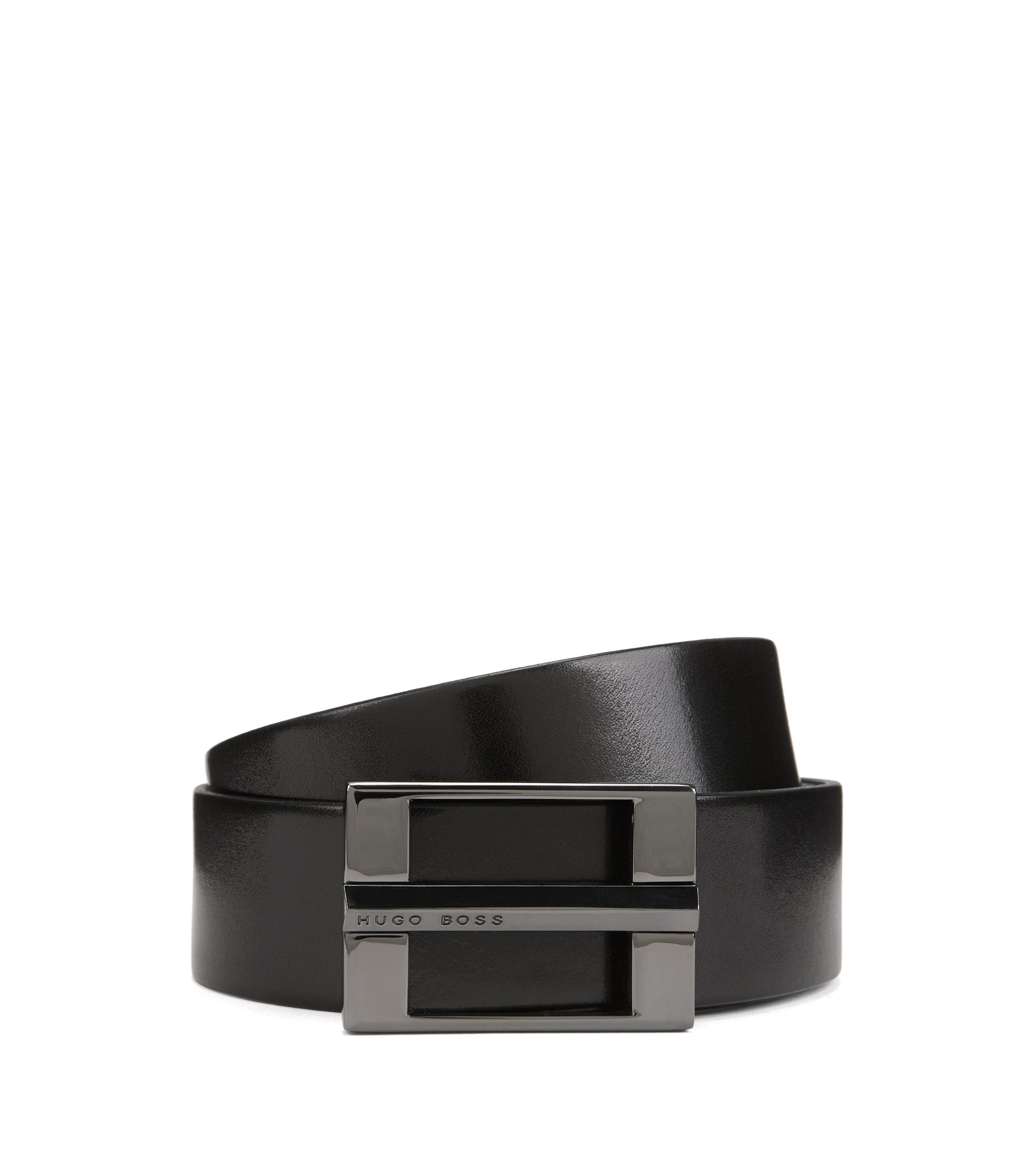 Leather belt with signature gunmetal hardware, Black