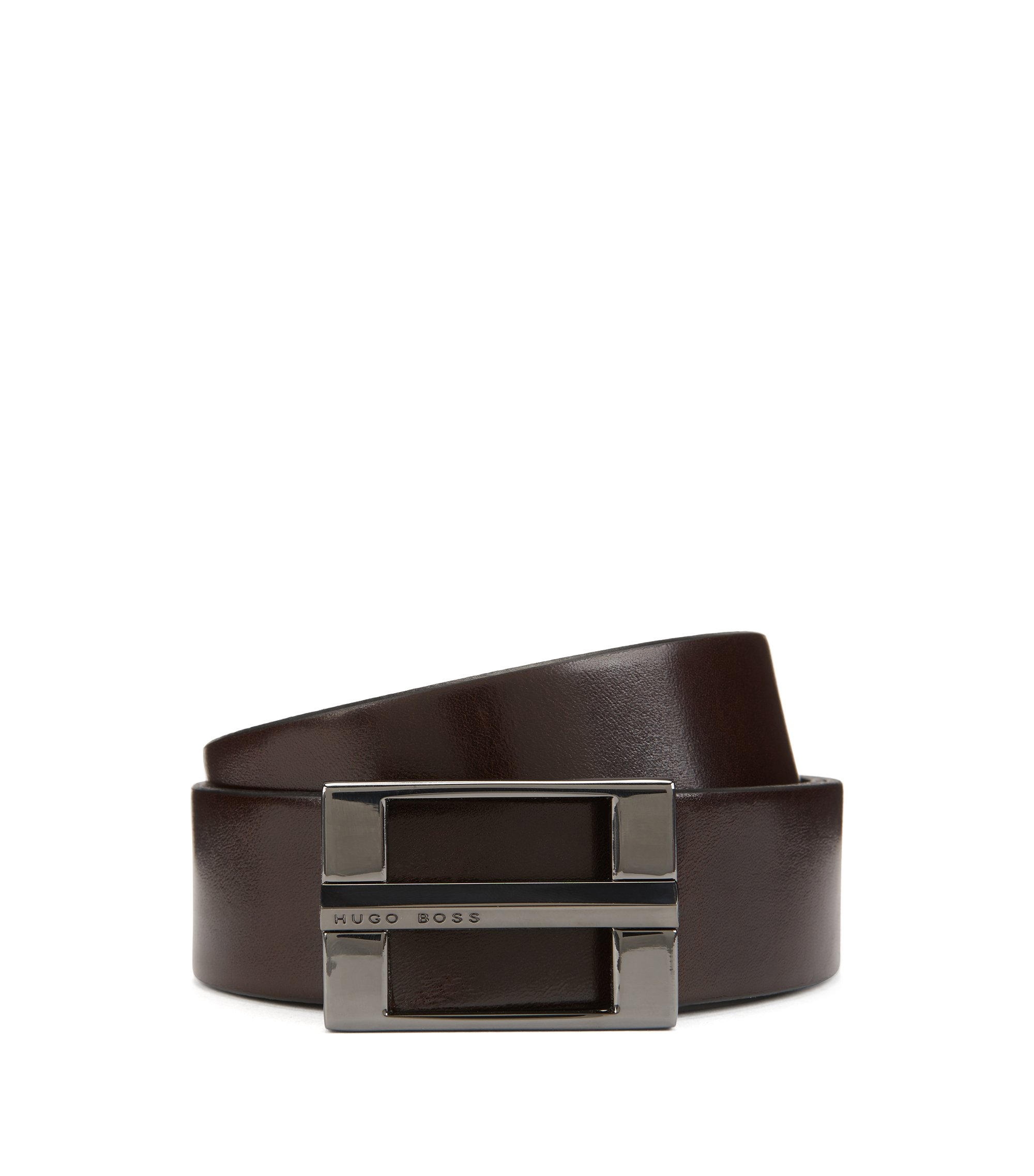 Leather belt with signature gunmetal hardware, Dark Brown