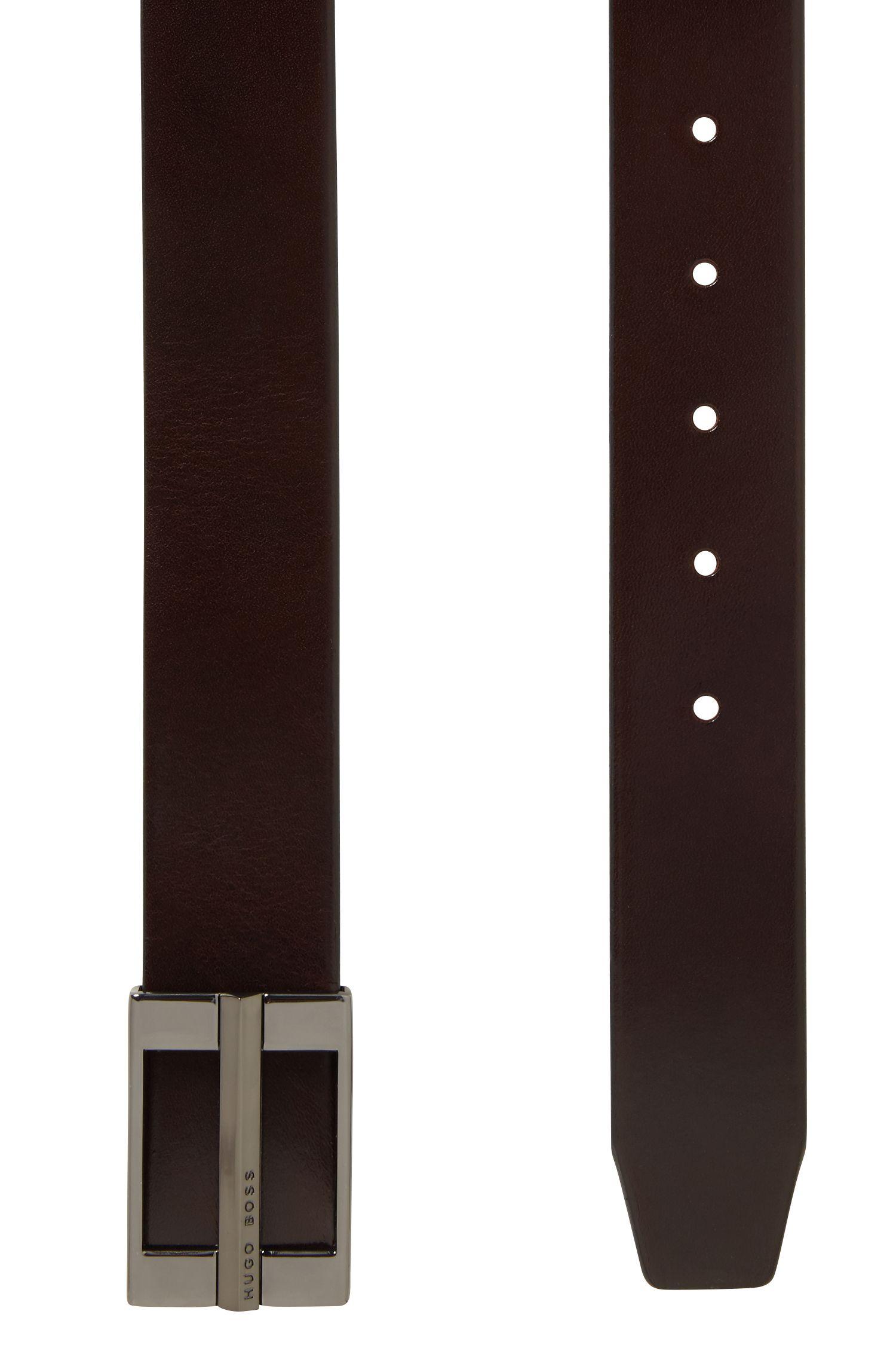 Ledergürtel mit charakteristischen Metall-Details, Dunkelbraun