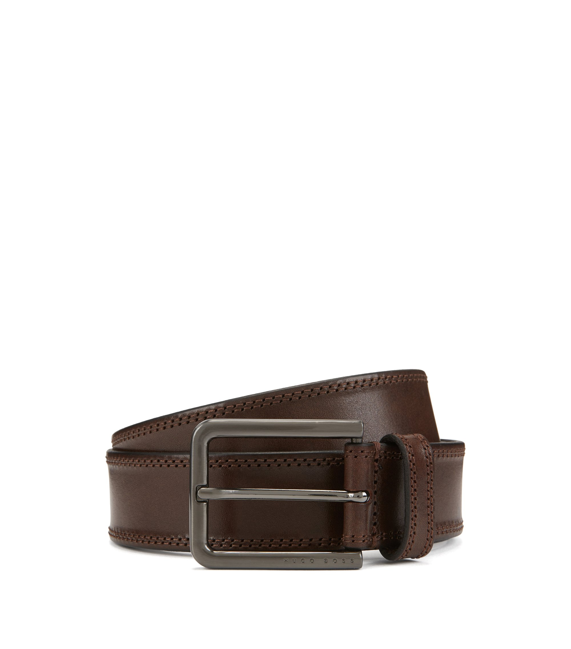 Smooth leather belt with tonal stitch detailing, Dark Brown