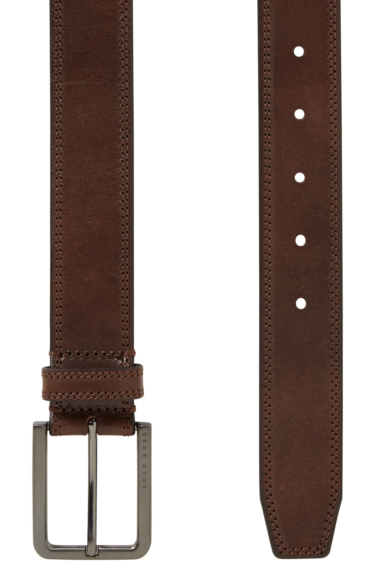 Smooth leather belt with tonal stitch detailing