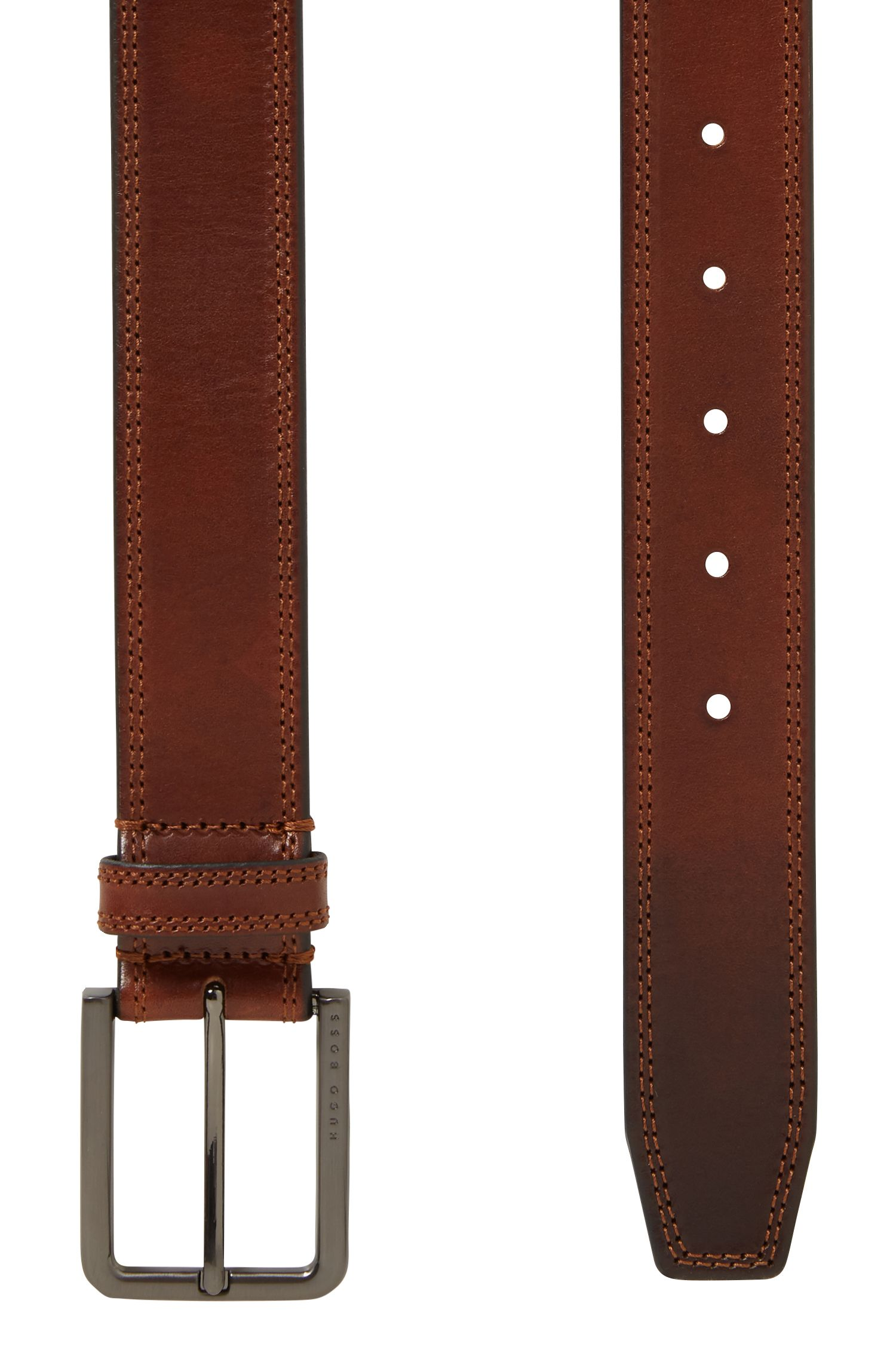 Smooth leather belt with tonal stitch detailing, Brown