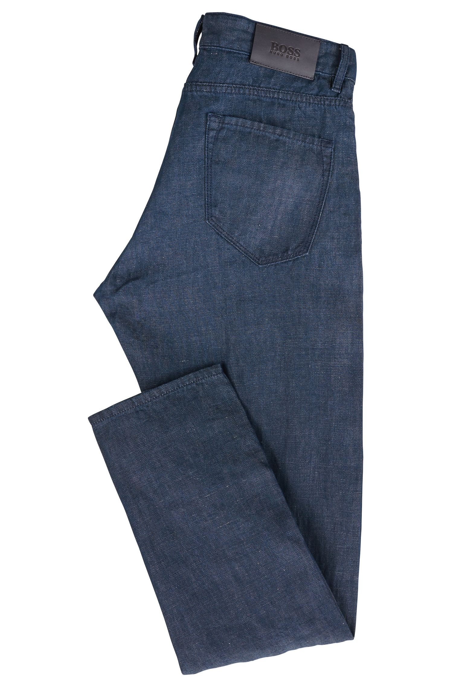 Relaxed-fit cropped jeans in cotton-blend selvedge denim