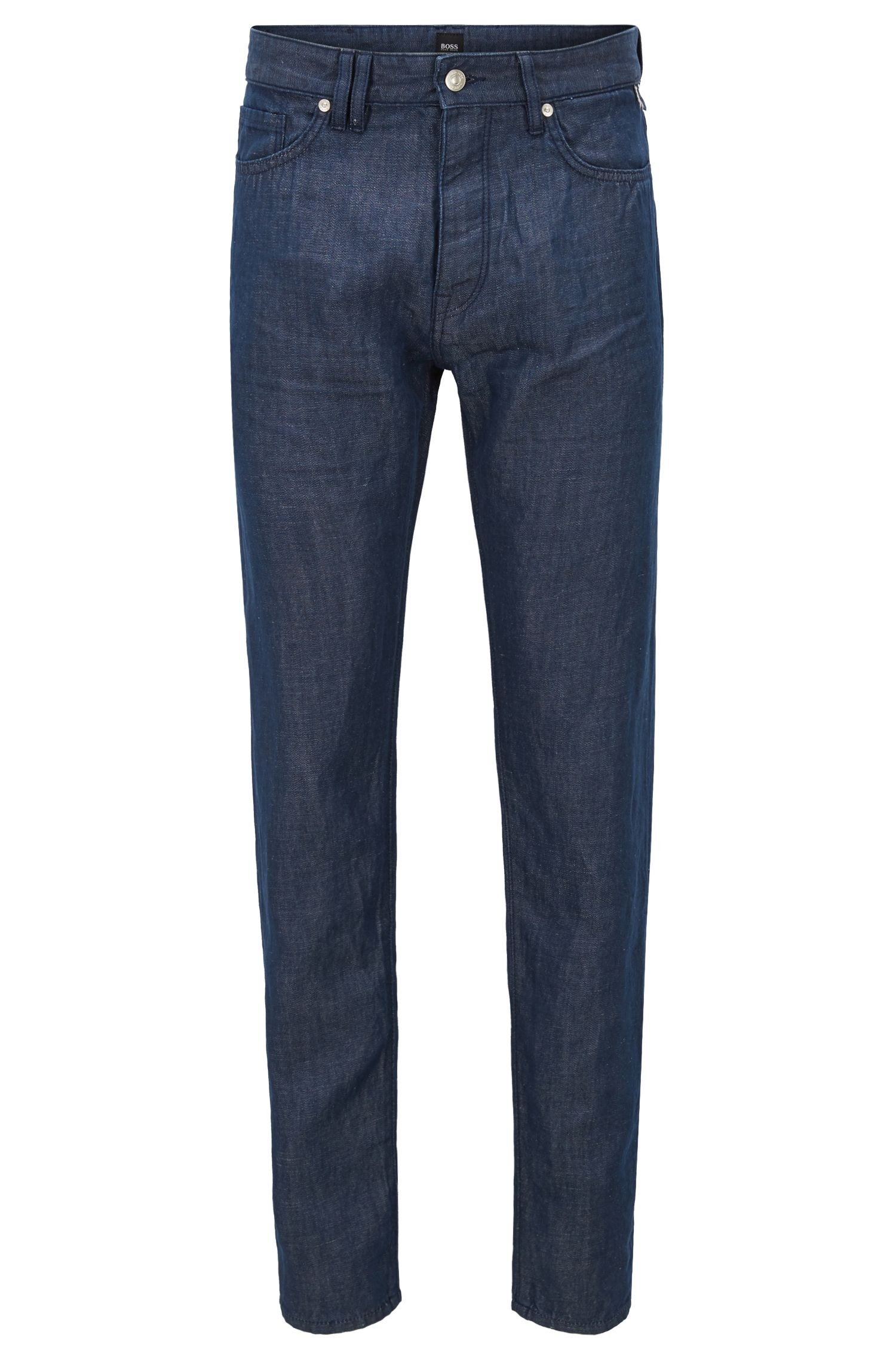 Hugo Boss - Relaxed-fit cropped jeans in cotton-blend selvedge denim - 1