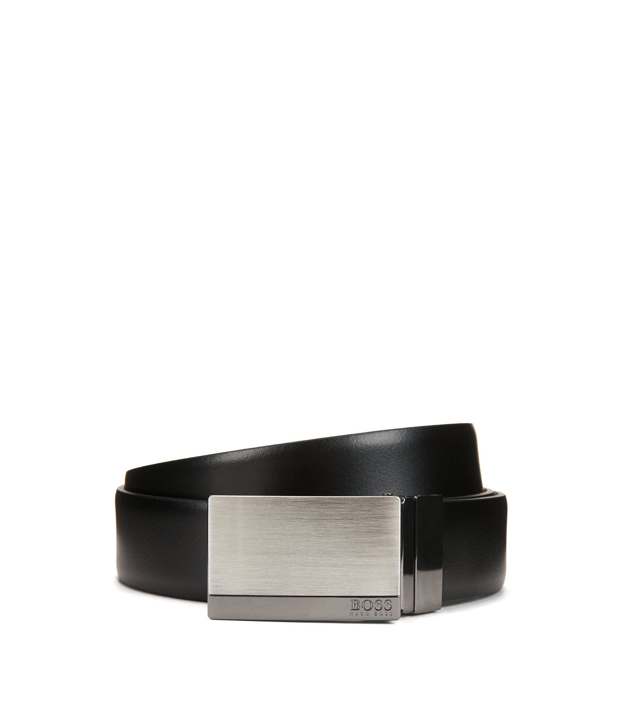 Reversible smooth leather belt with brushed-silver plaque closure, Black
