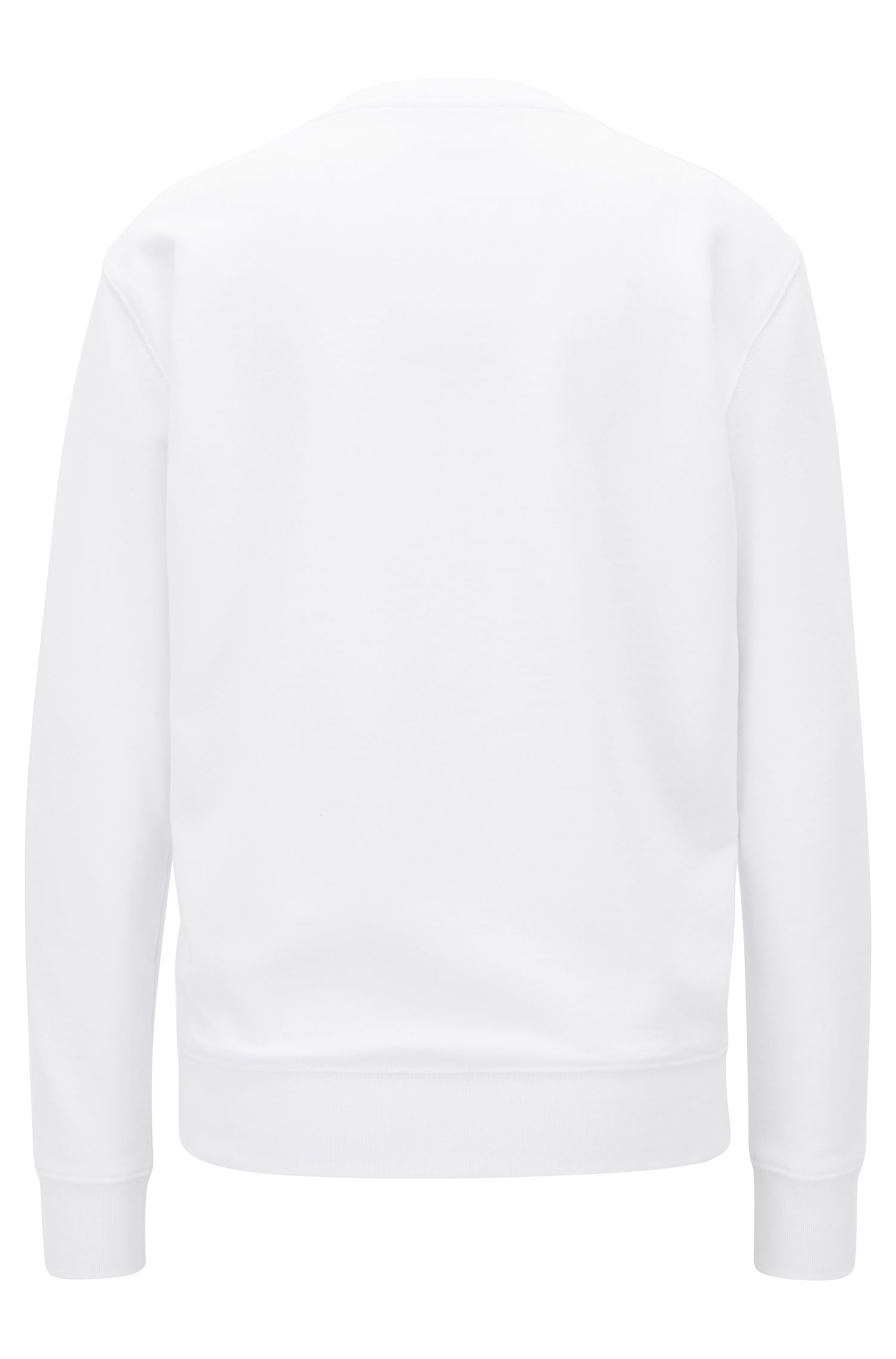 Sweatshirt aus Baumwoll-Terry mit 3D-Logo in Metallic-Optik, Weiß