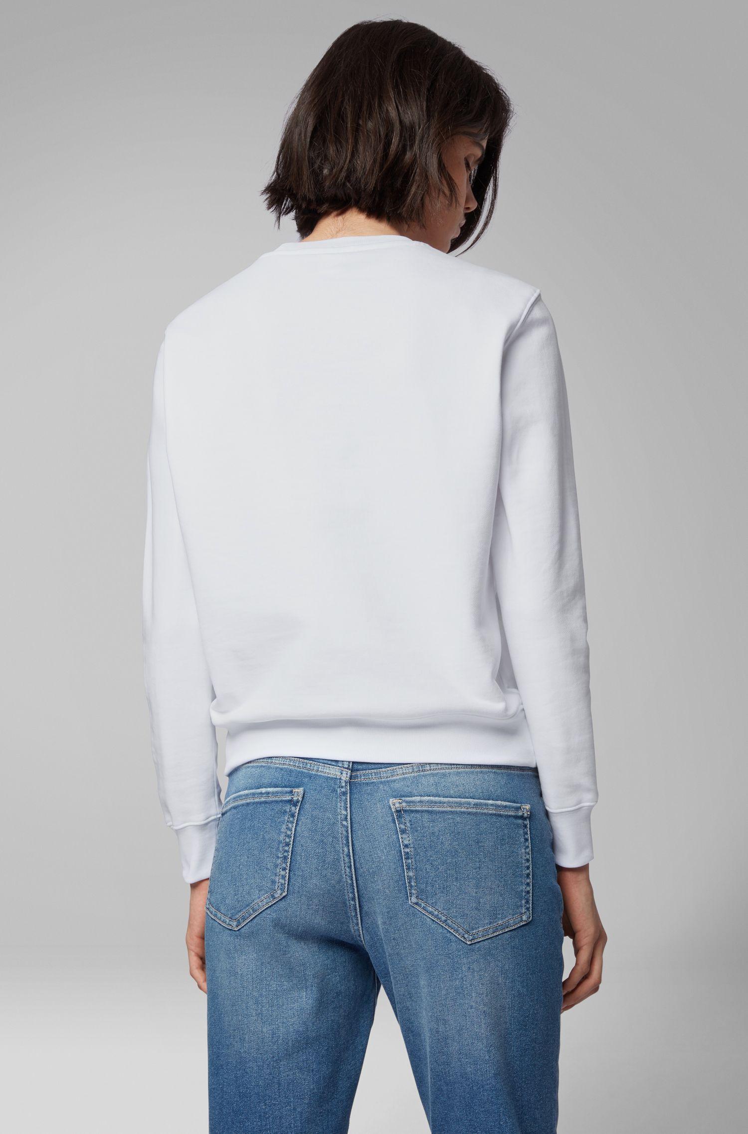 Sweater van badstof met driedimensionaal metallic logo, Wit