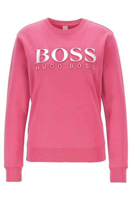 Sweatshirt aus Baumwoll-Terry mit 3D-Logo in Metallic-Optik, Pink