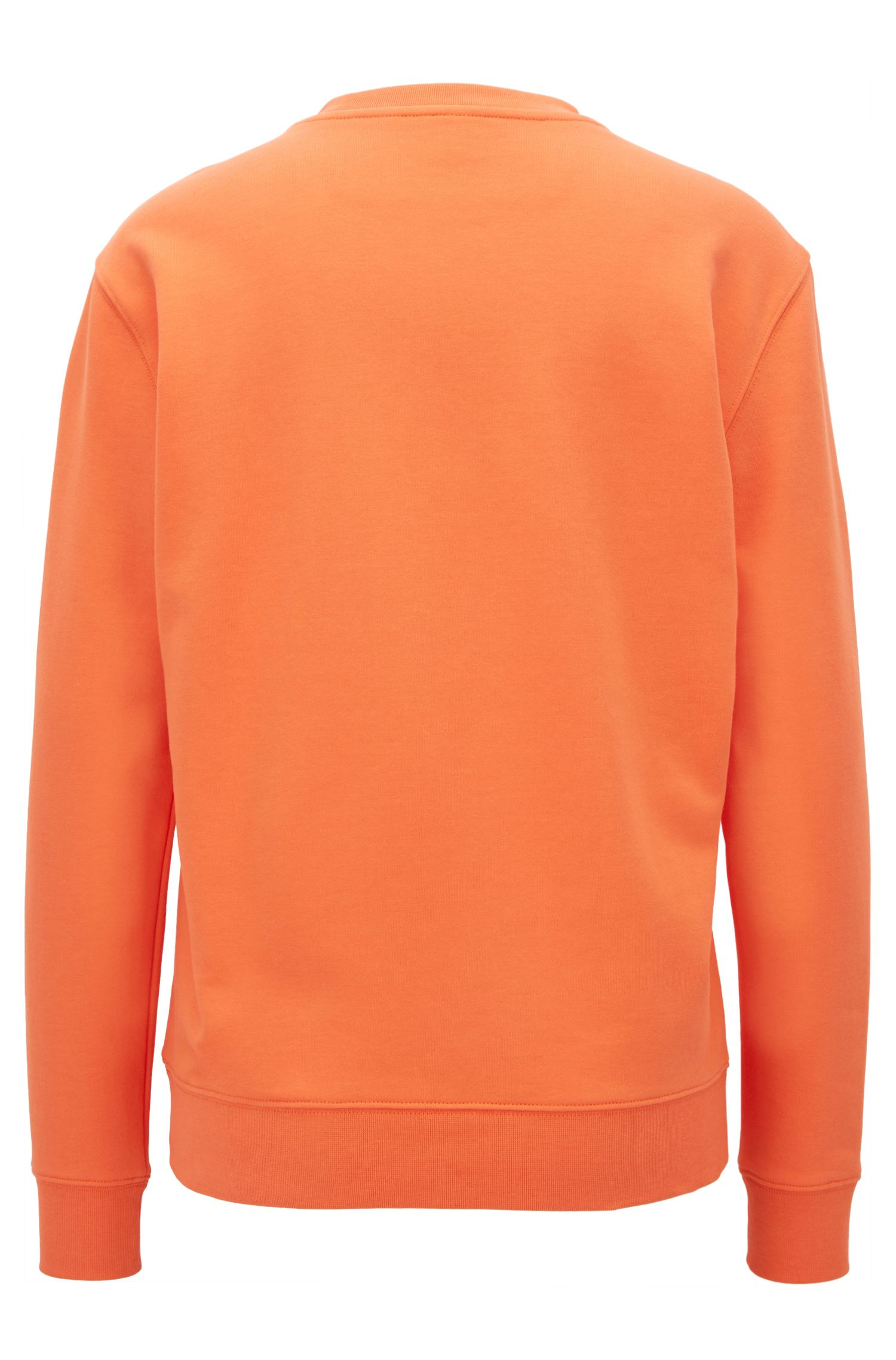 Sweat en coton molletonné French Terry à logo métallisé en relief, Orange