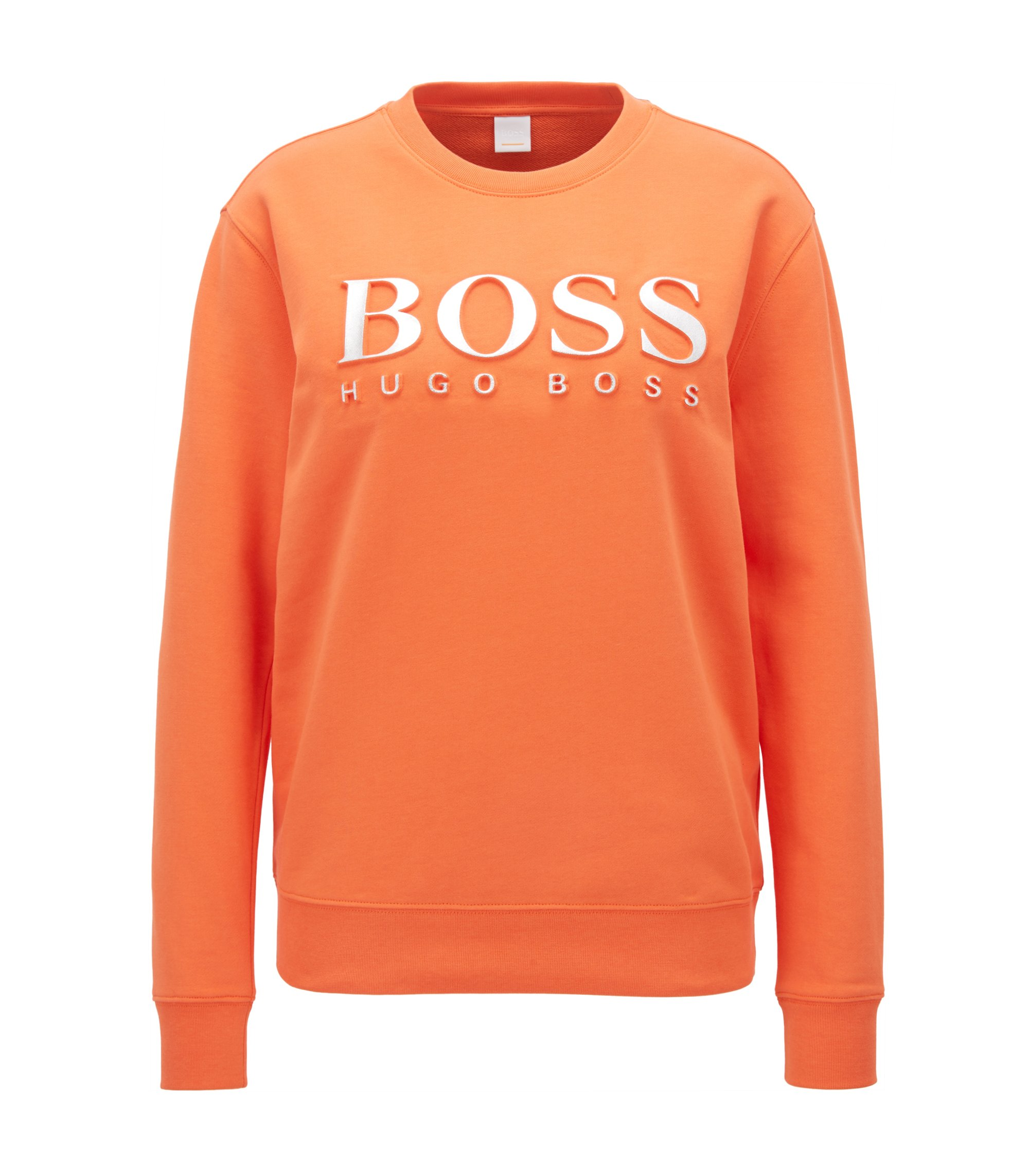 Cotton terry sweatshirt with three-dimensional metallic logo, Orange