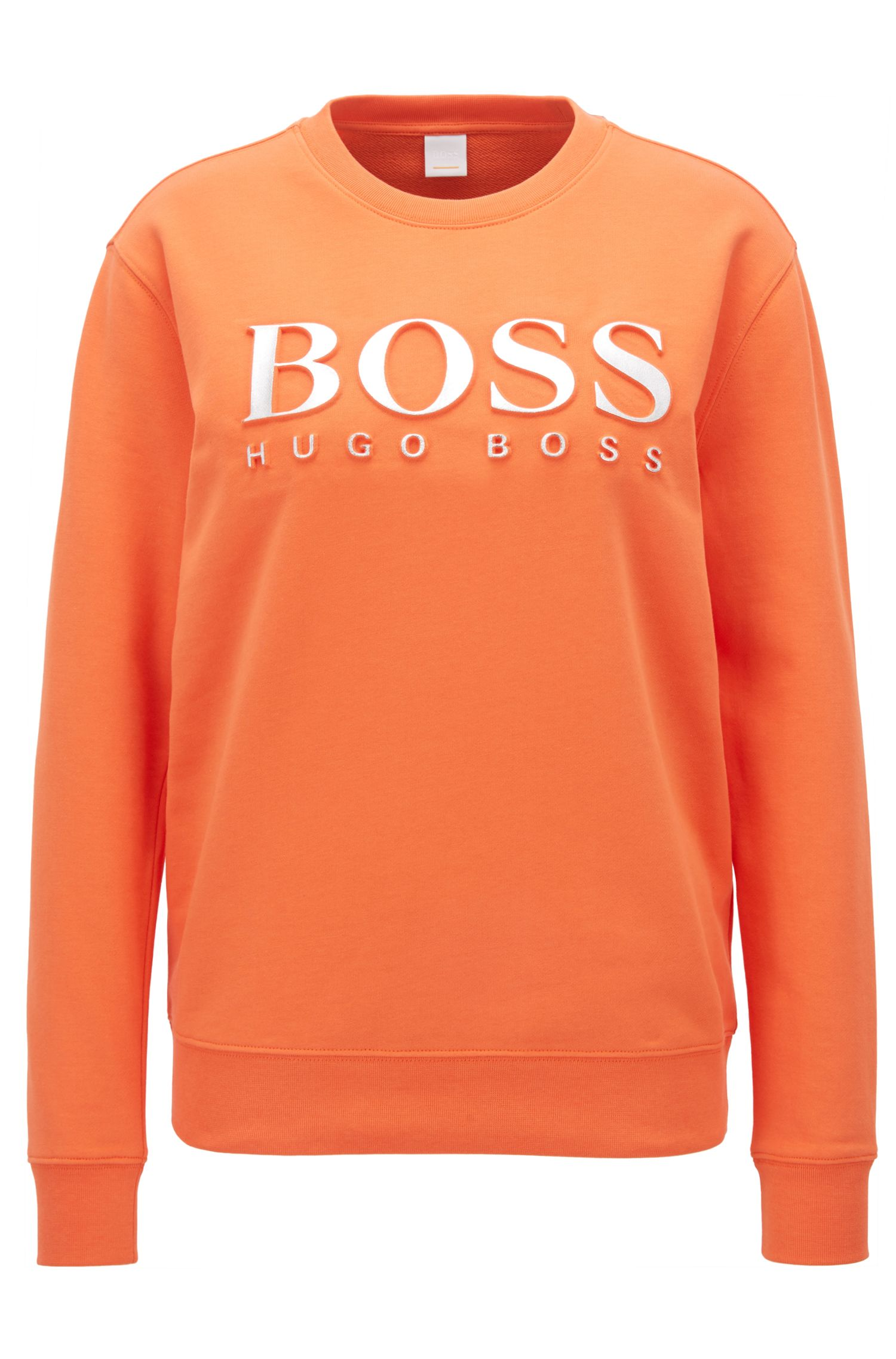 Sweatshirt aus Baumwoll-Terry mit 3D-Logo in Metallic-Optik, Orange