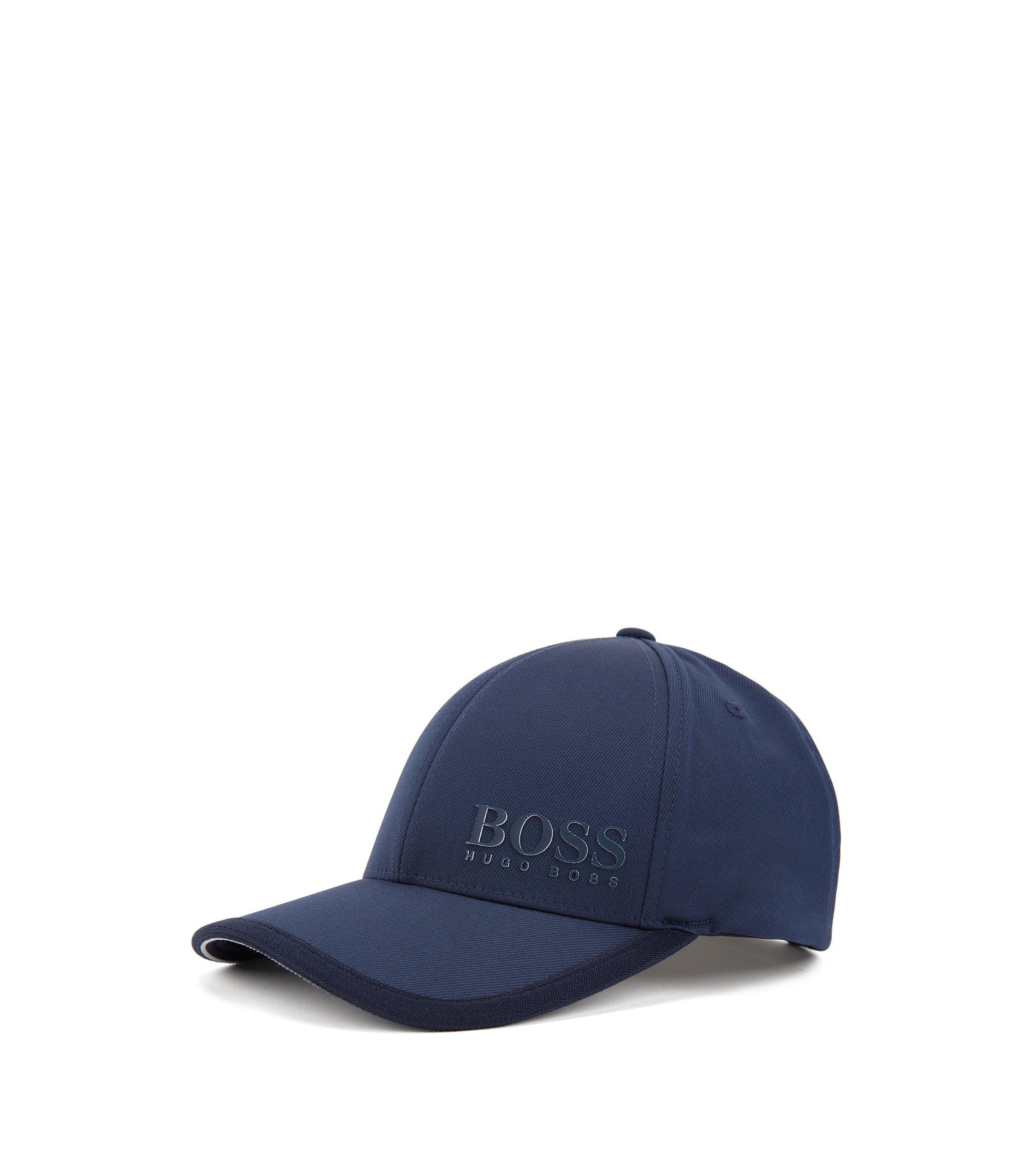 Cappellino in twill tecnico elasticizzato con logo 3D , Blu scuro