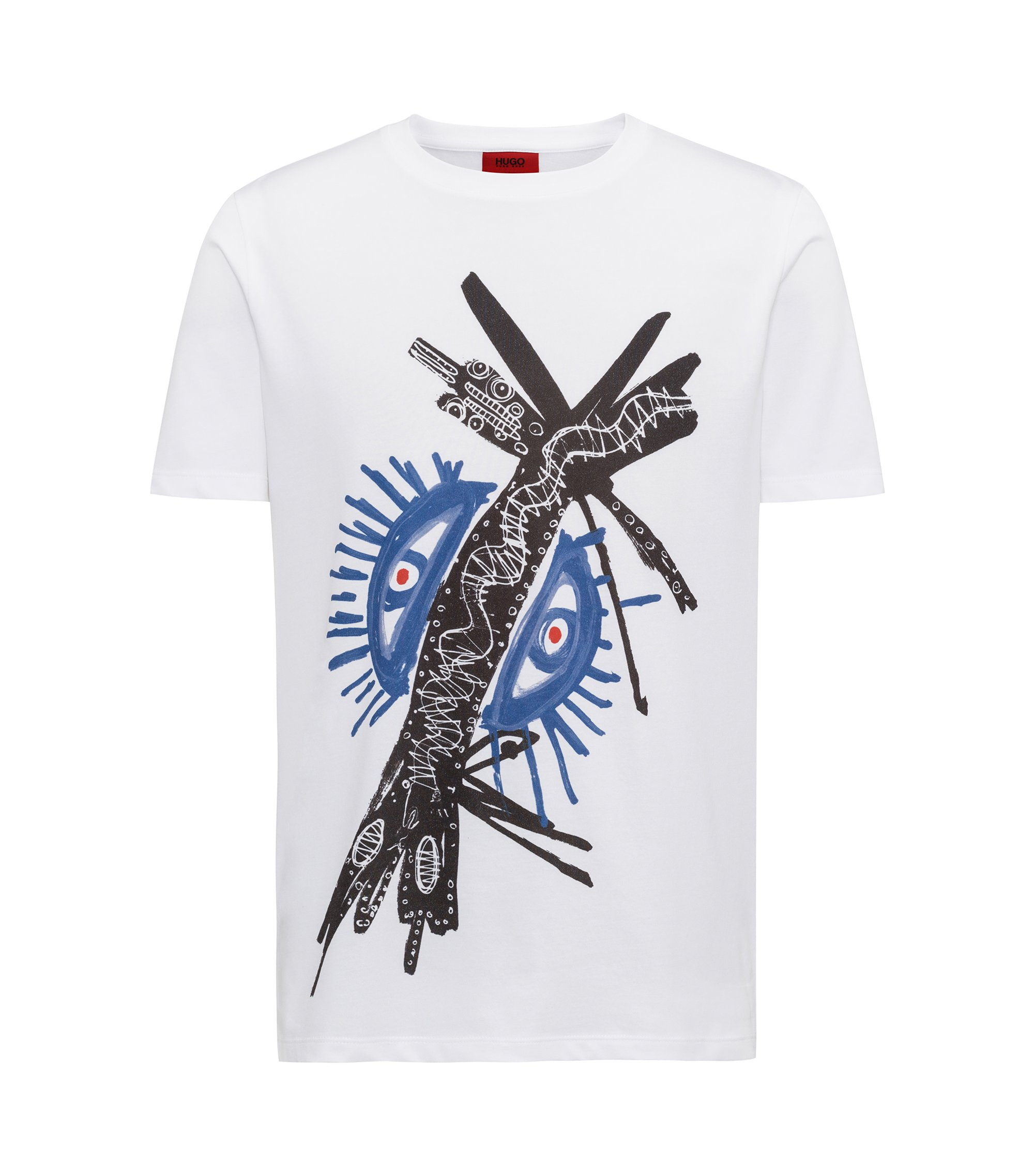 Regular-Fit T-Shirt aus Single Jersey mit Grafik-Print, Weiß