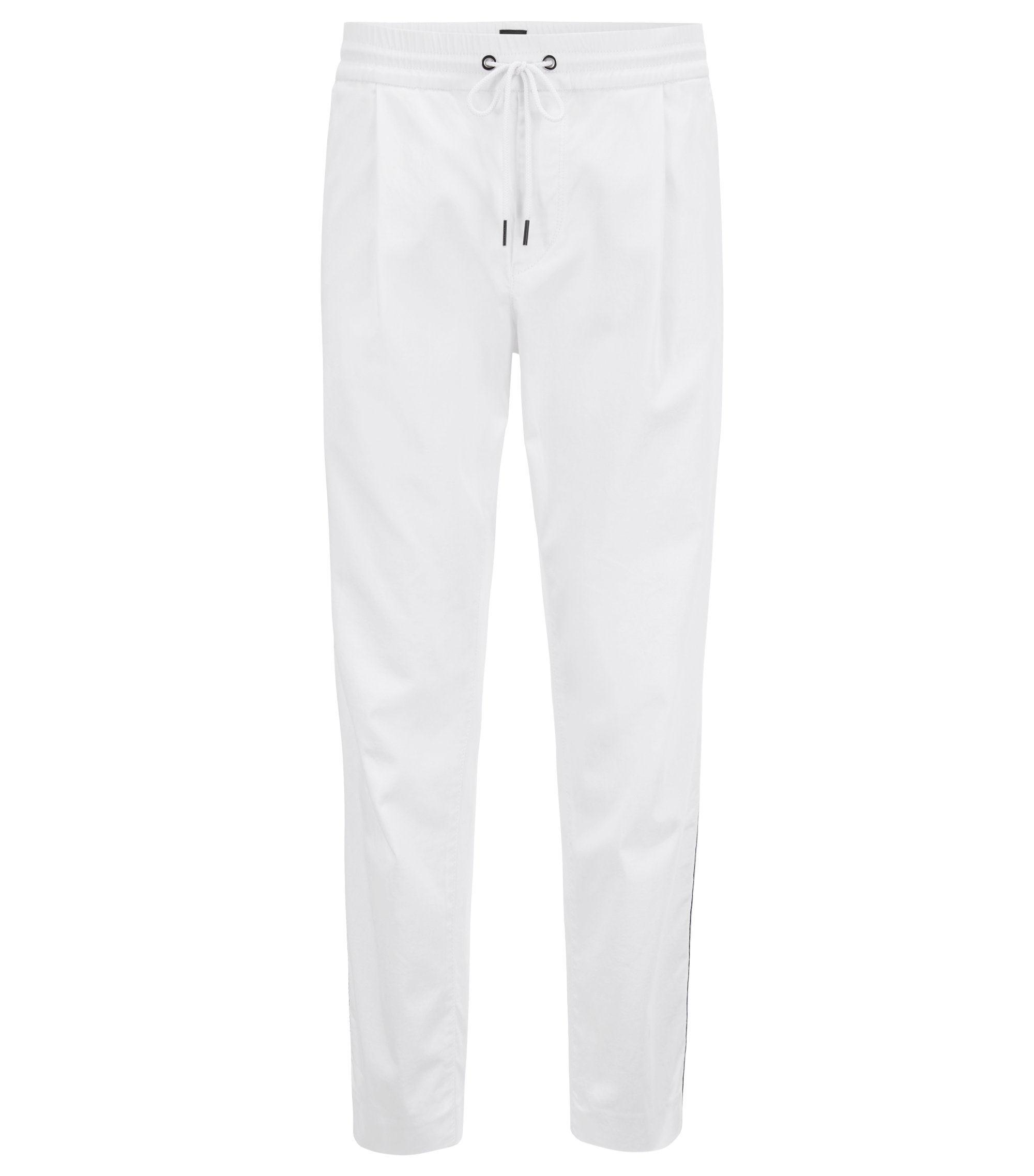 Pantalon Tapered Fit en coton stretch mélangé, Blanc