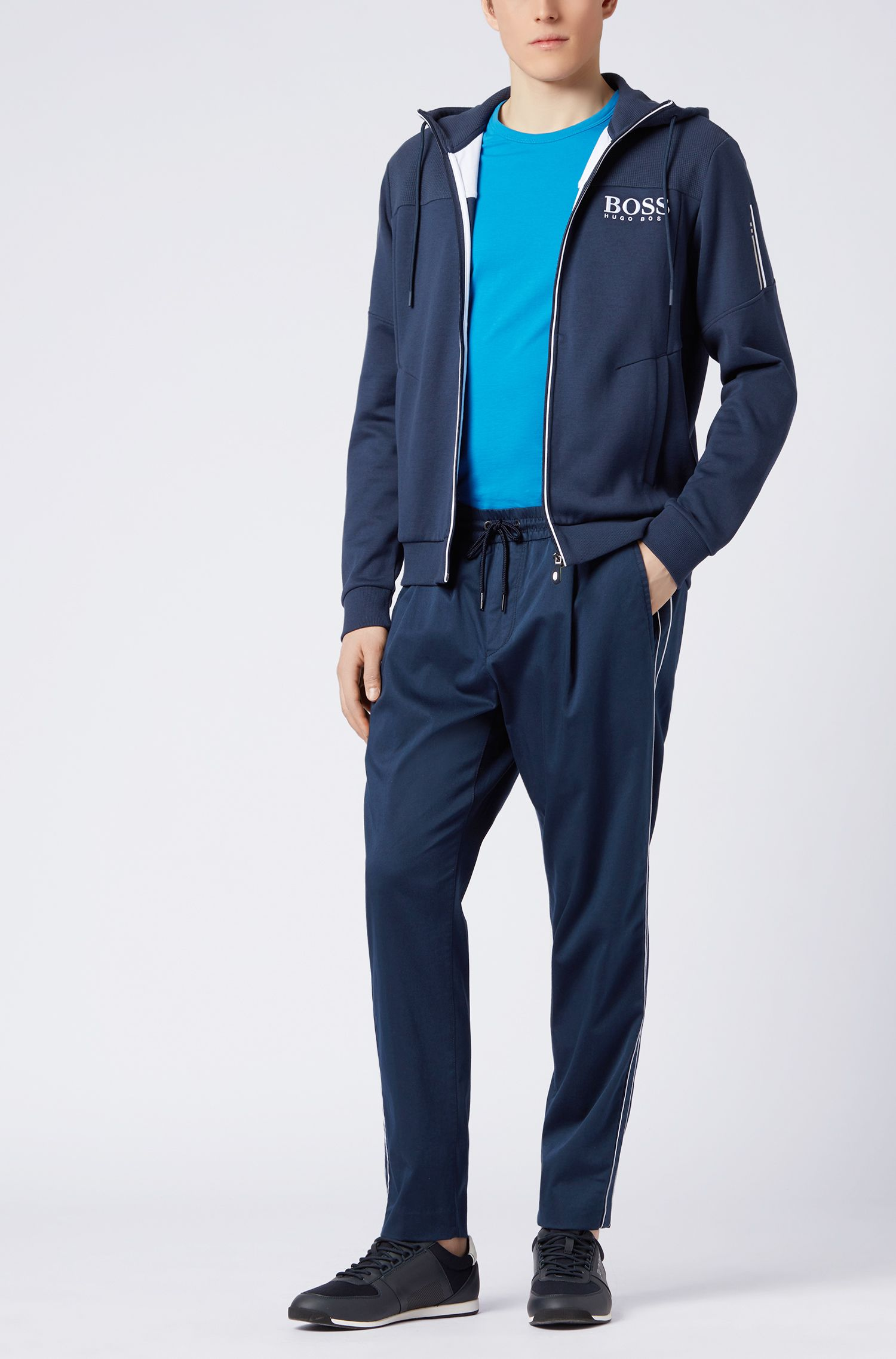 Pantaloni tapered fit in misto cotone elasticizzato, Blu scuro