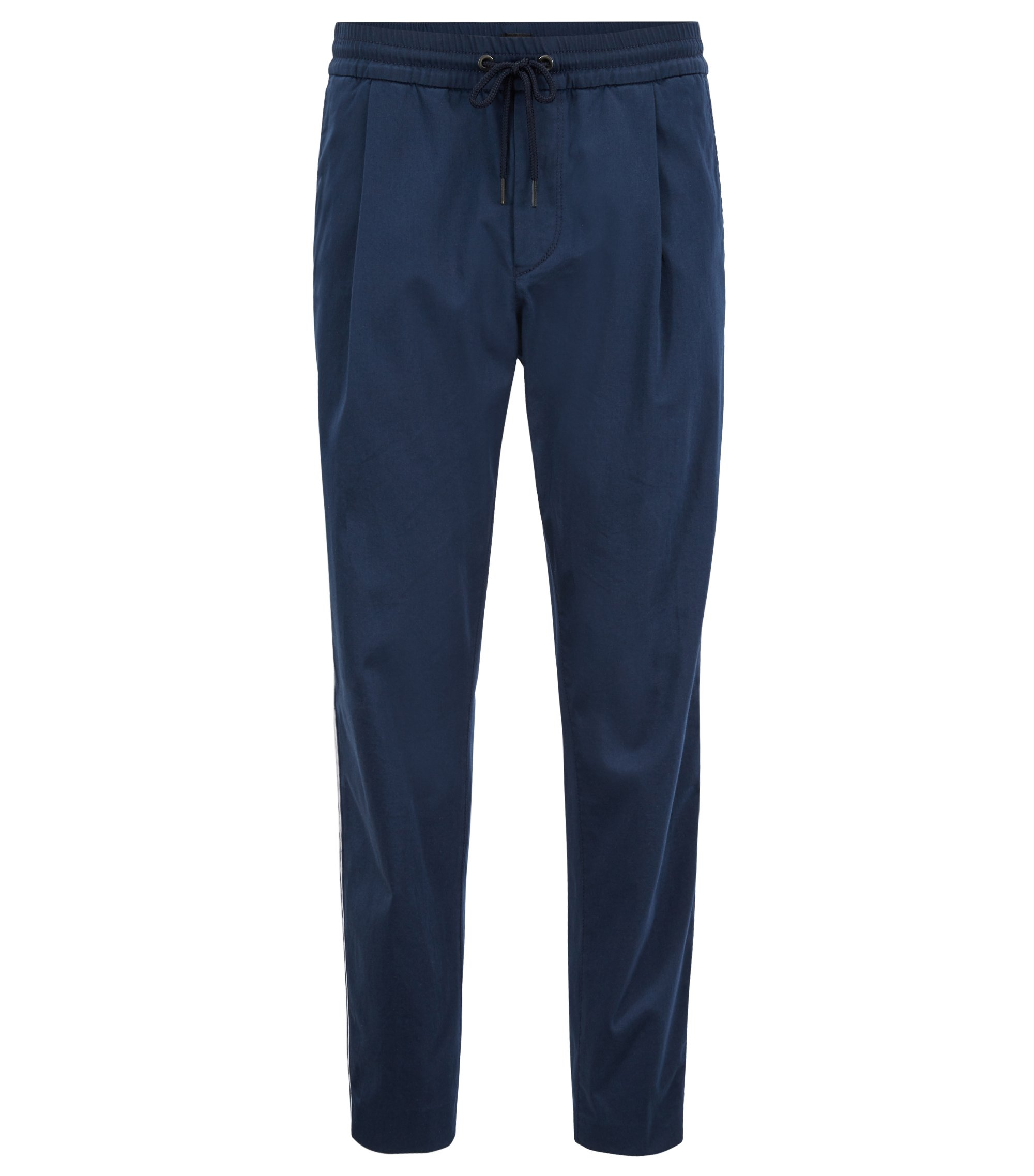 Pantalon Tapered Fit en coton stretch mélangé, Bleu foncé