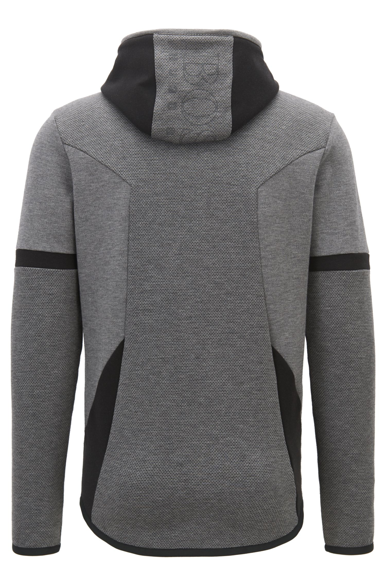 Hooded sweatshirt with two-way zip and contrast details