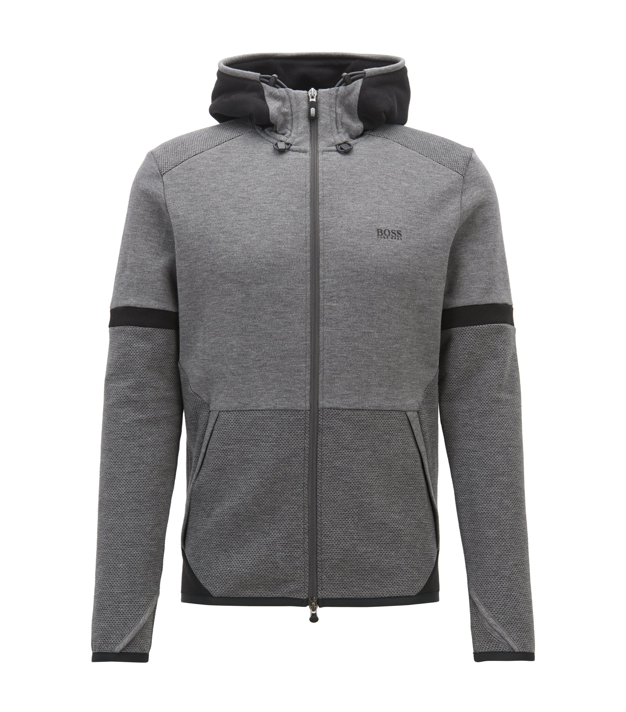 Hooded sweatshirt with two-way zip and contrast details, Anthracite