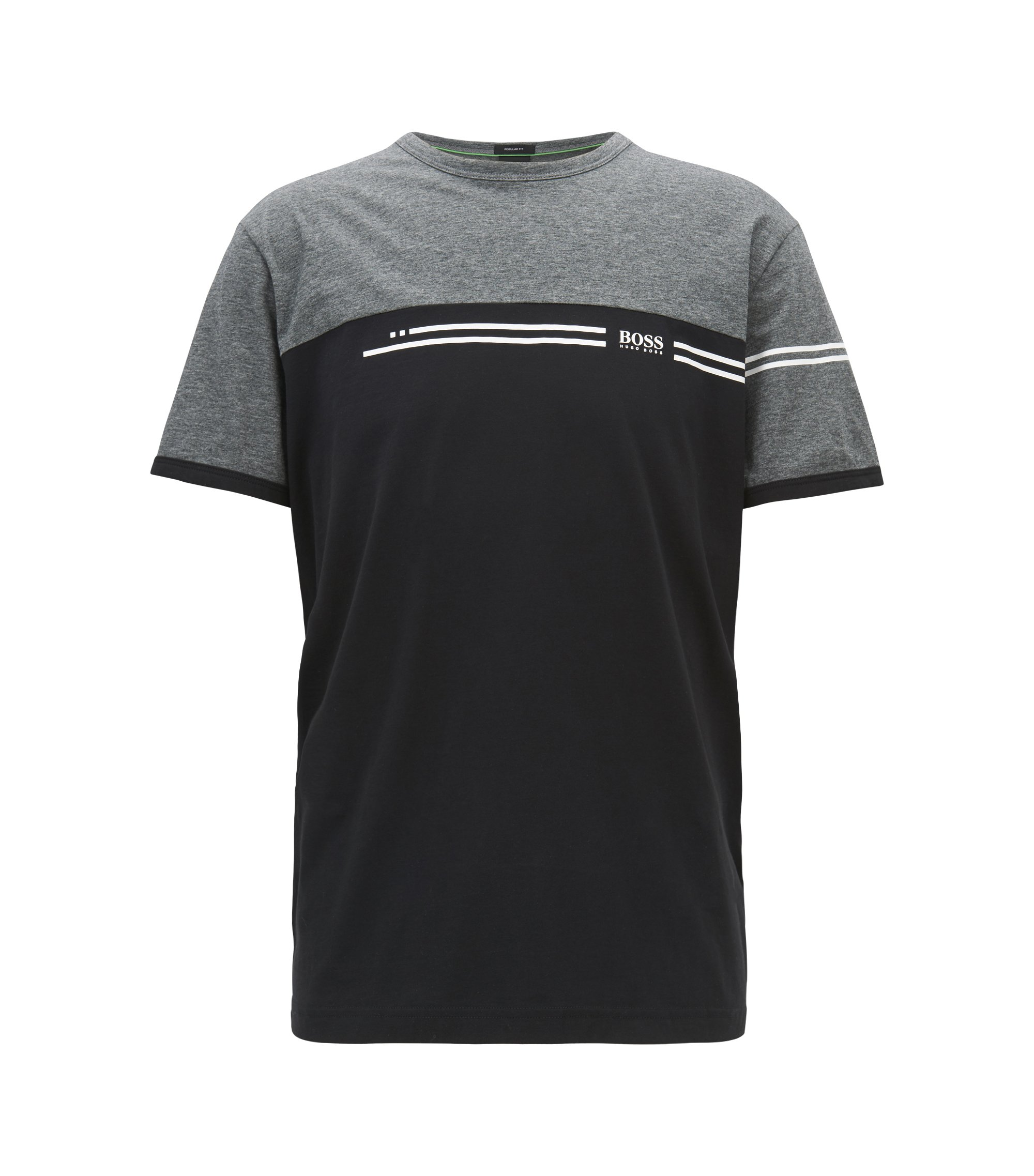 Colour-block cotton T-shirt with logo print, Grey