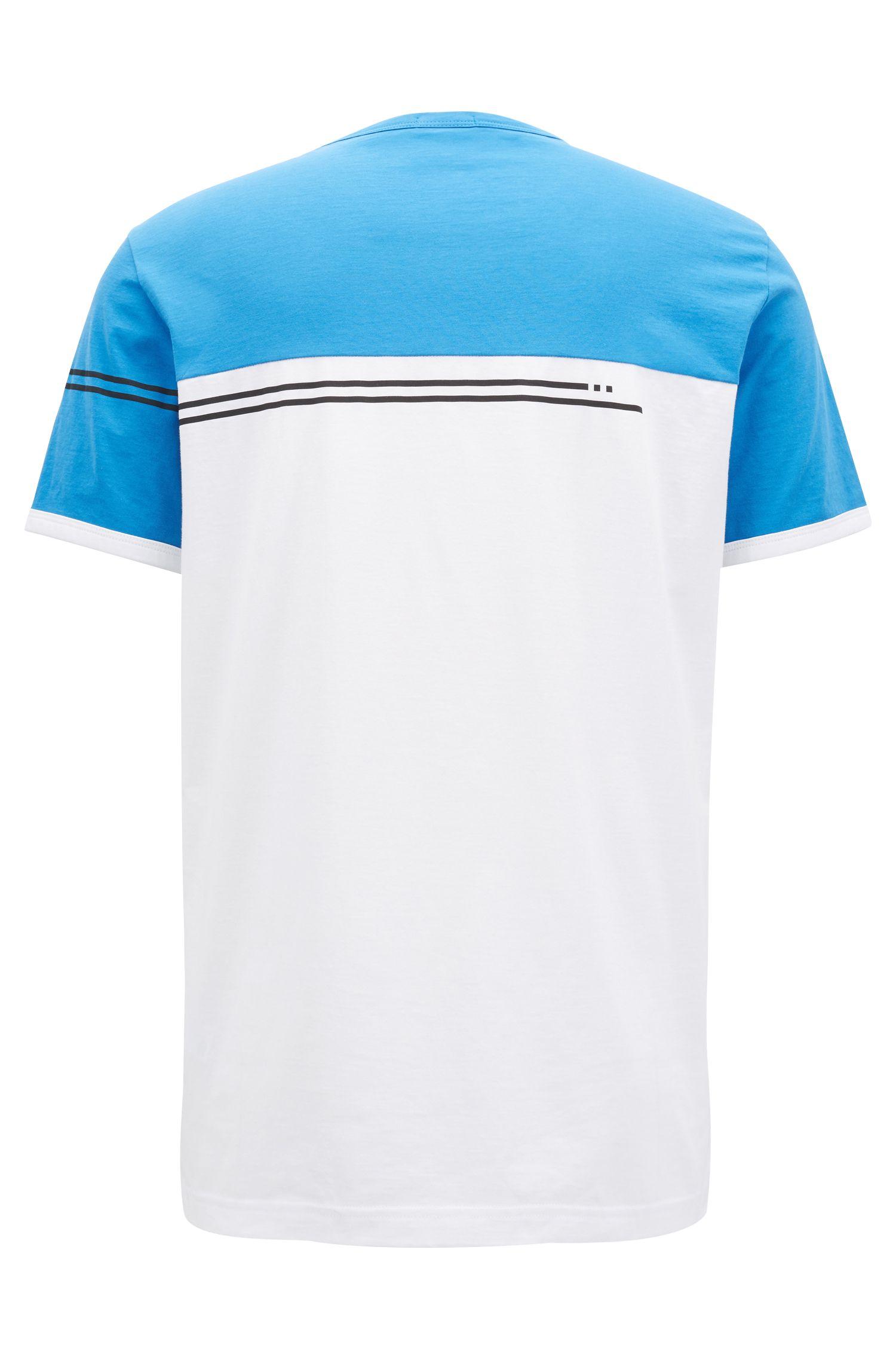 Colour-block cotton T-shirt with logo print, Blue