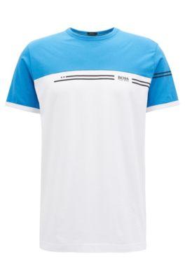 T-Shirt aus Baumwolle mit Colour-Block-Dessin und Logo-Print, Blau