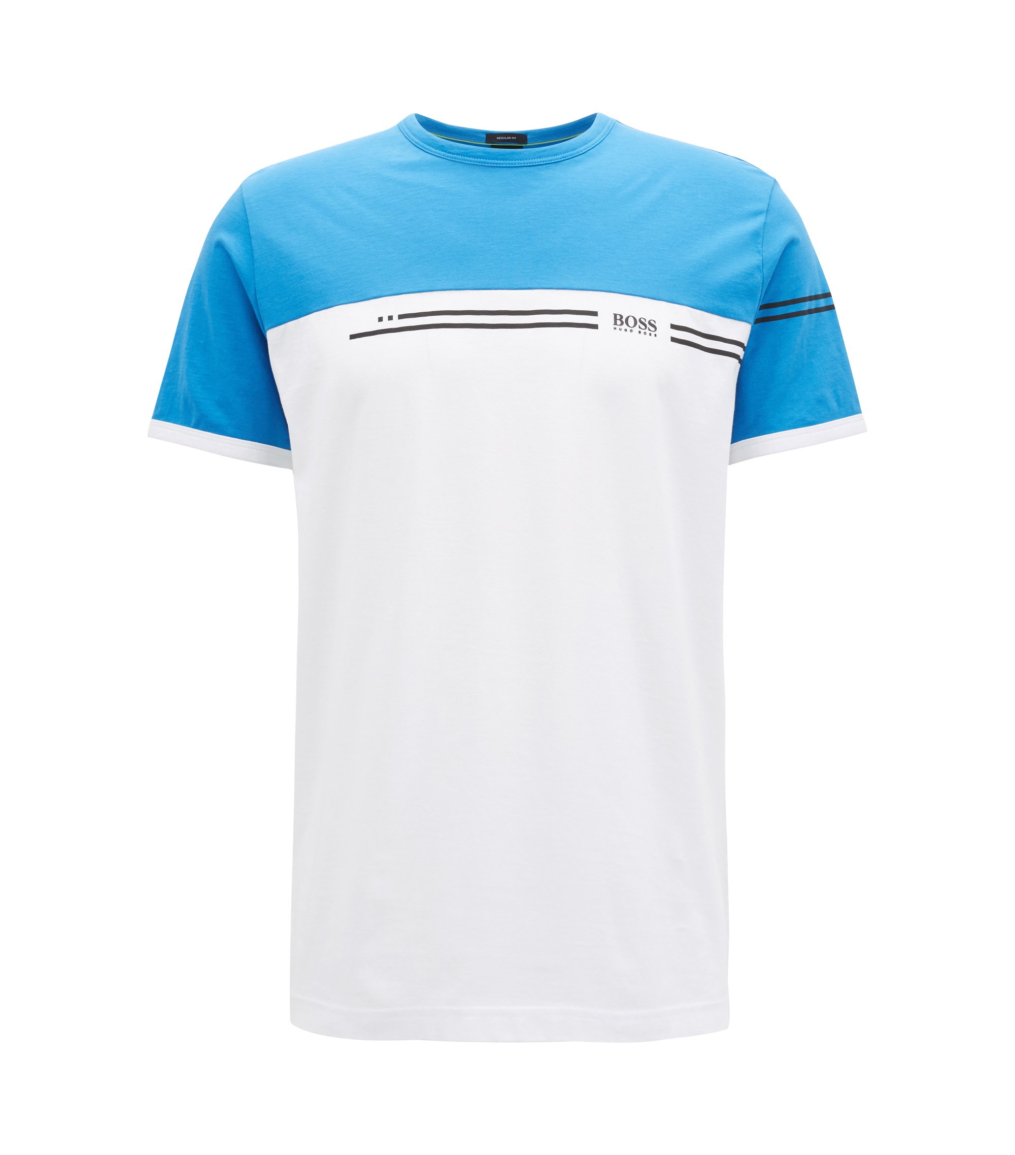 Colour-block cotton T-shirt with logo print, Blue