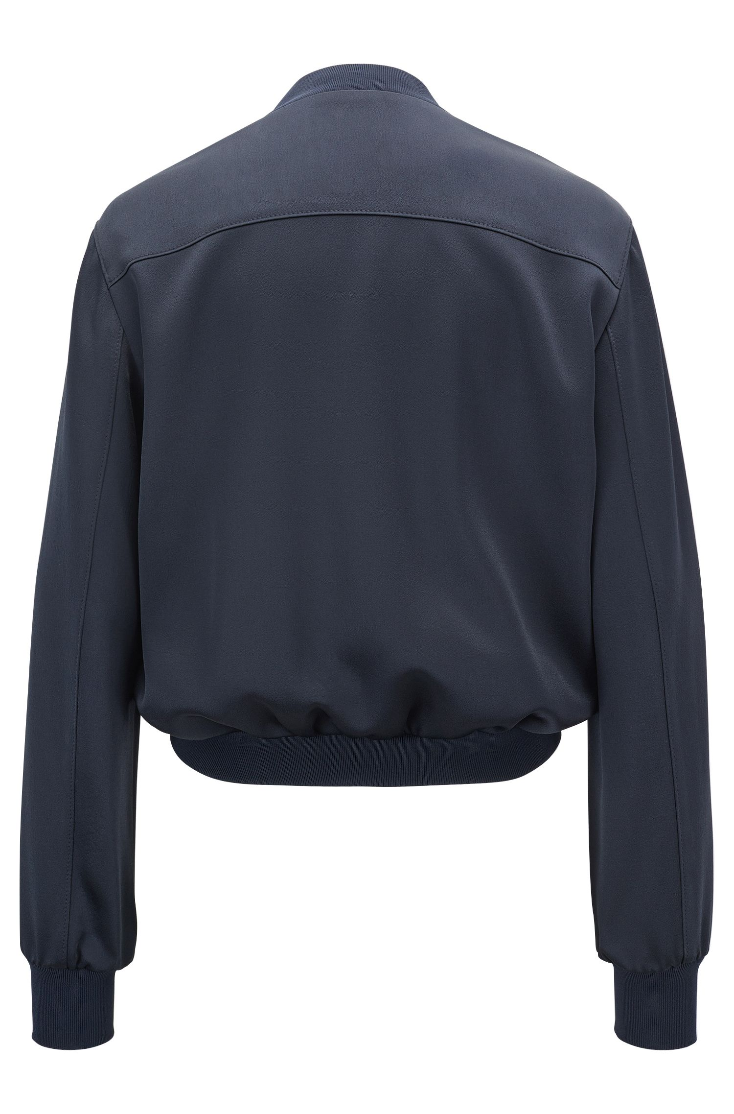 Zip-through bomber jacket in lustrous fabric, Dark Blue