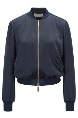 Zip-through bomber jacket in lustrous fabric, Dark Blue