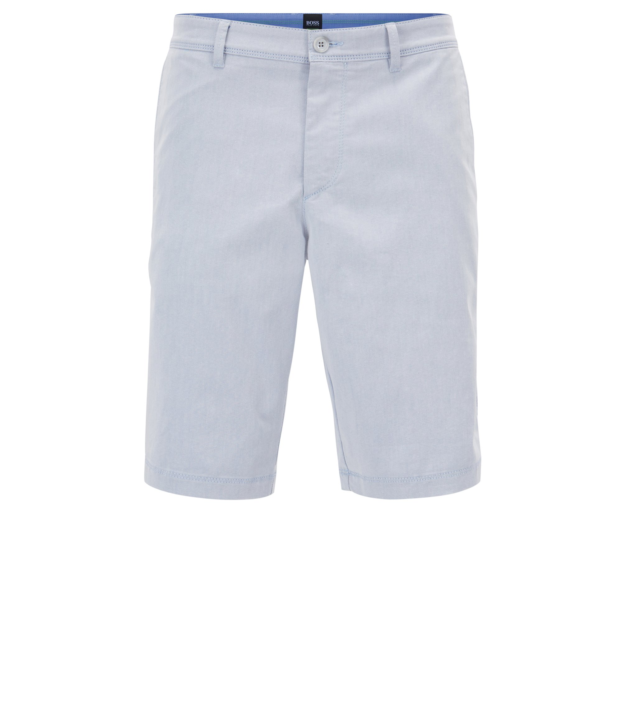 Short Slim Fit en twill stretch italien bicolore, Bleu vif