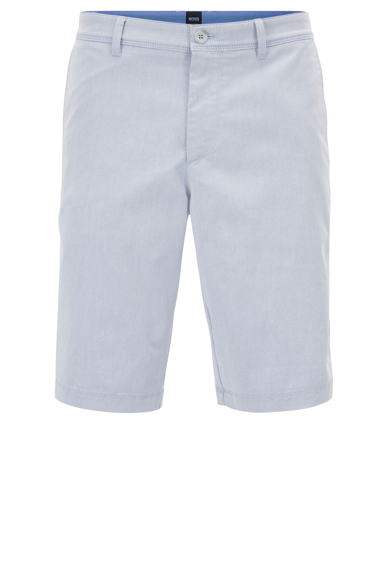 Slim-fit short van tweekleurig Italiaans twill met stretch, Lichtblauw