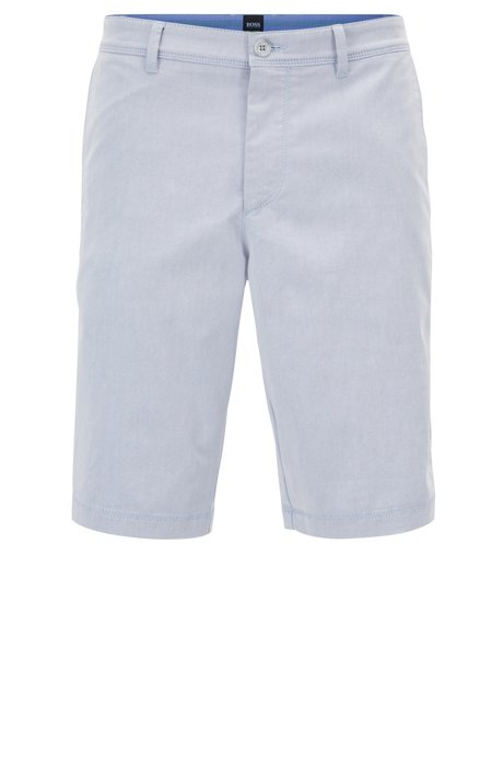 eb34c0e6c Slim-fit shorts in two-tone Italian stretch twill, Light Blue