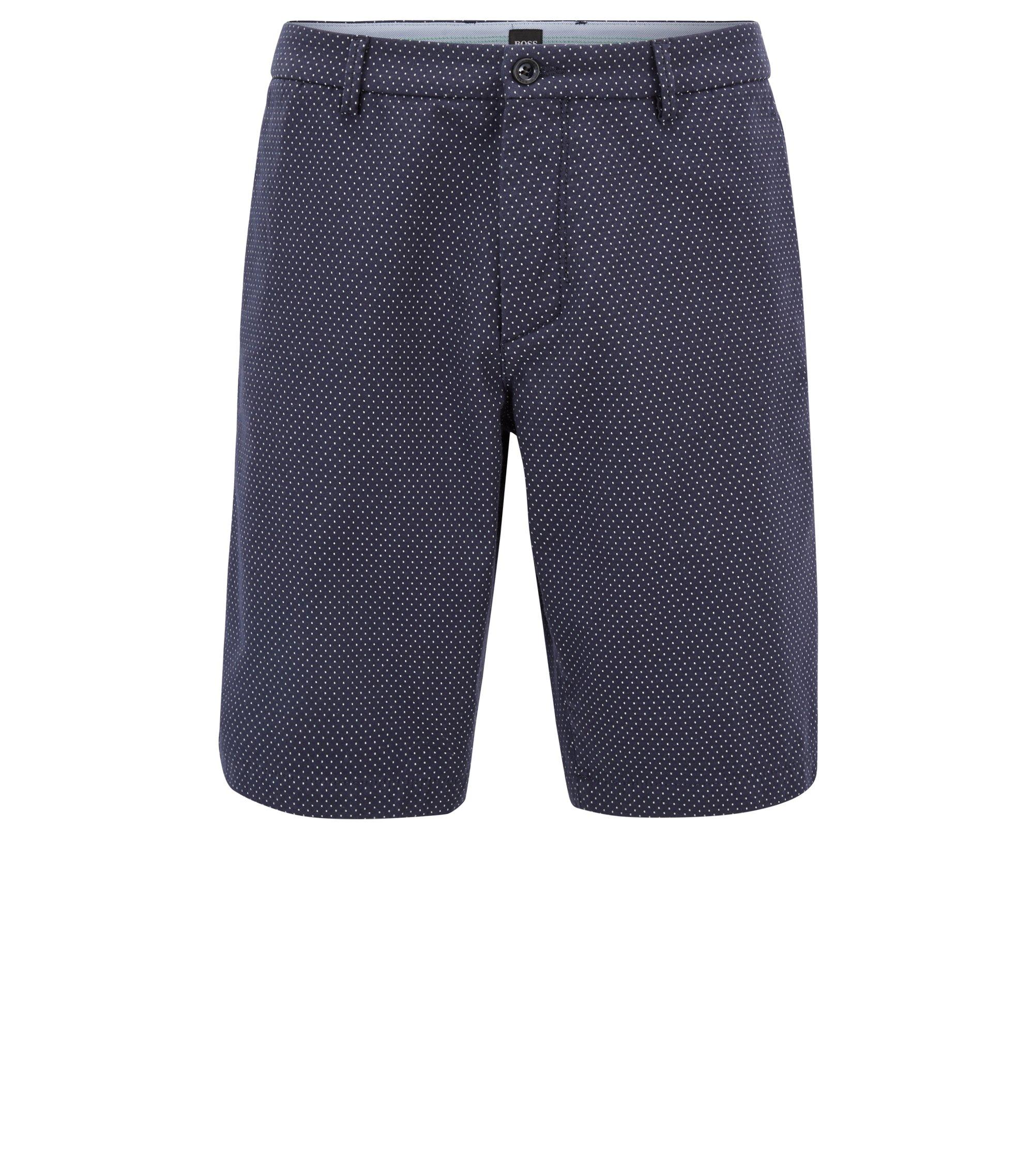 Slim-Fit Shorts aus Baumwoll-Mix mit Punkte-Struktur, Dunkelblau